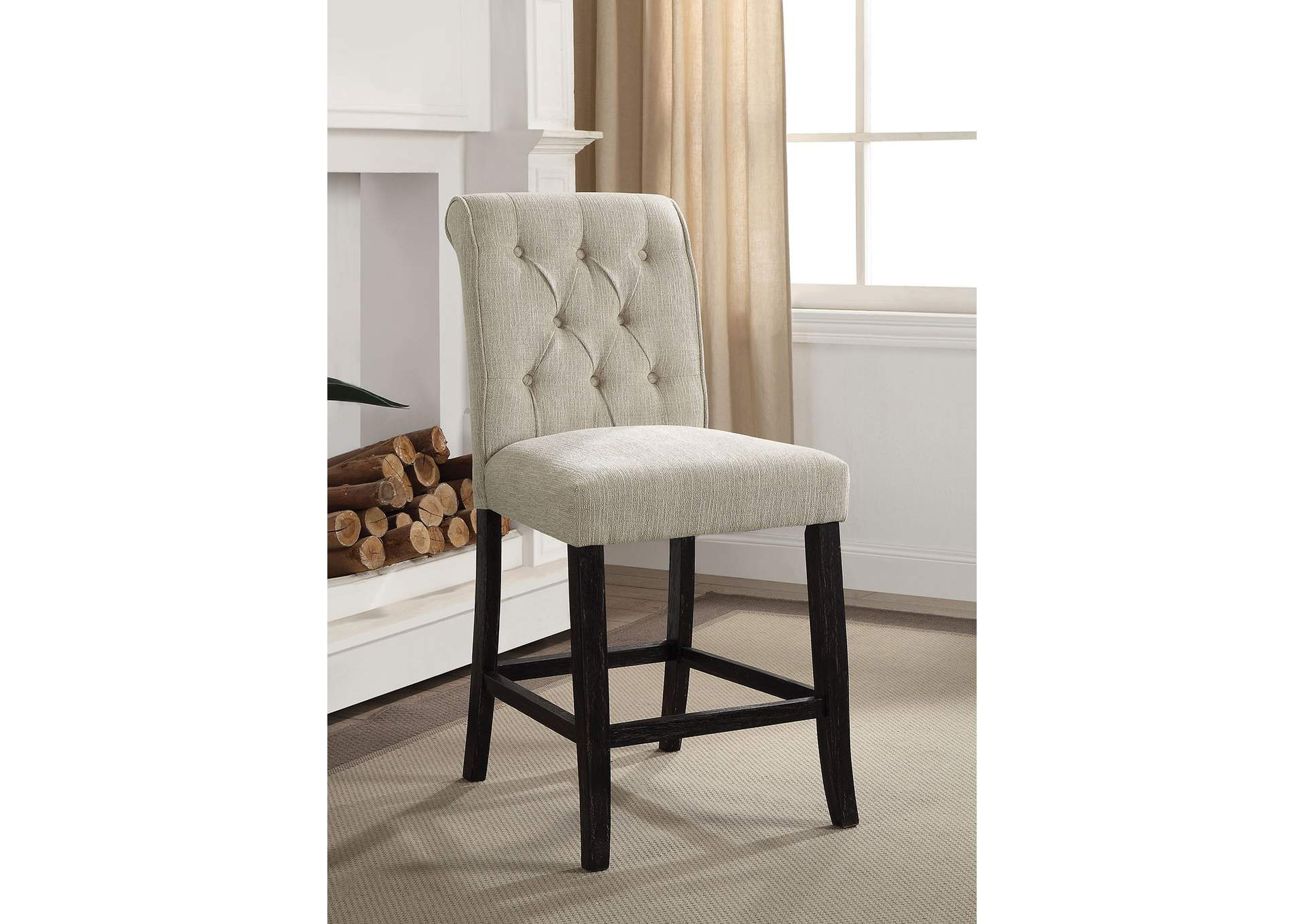 Izzy Beige/Antique Black Counter Chair (Set of 2),Furniture of America