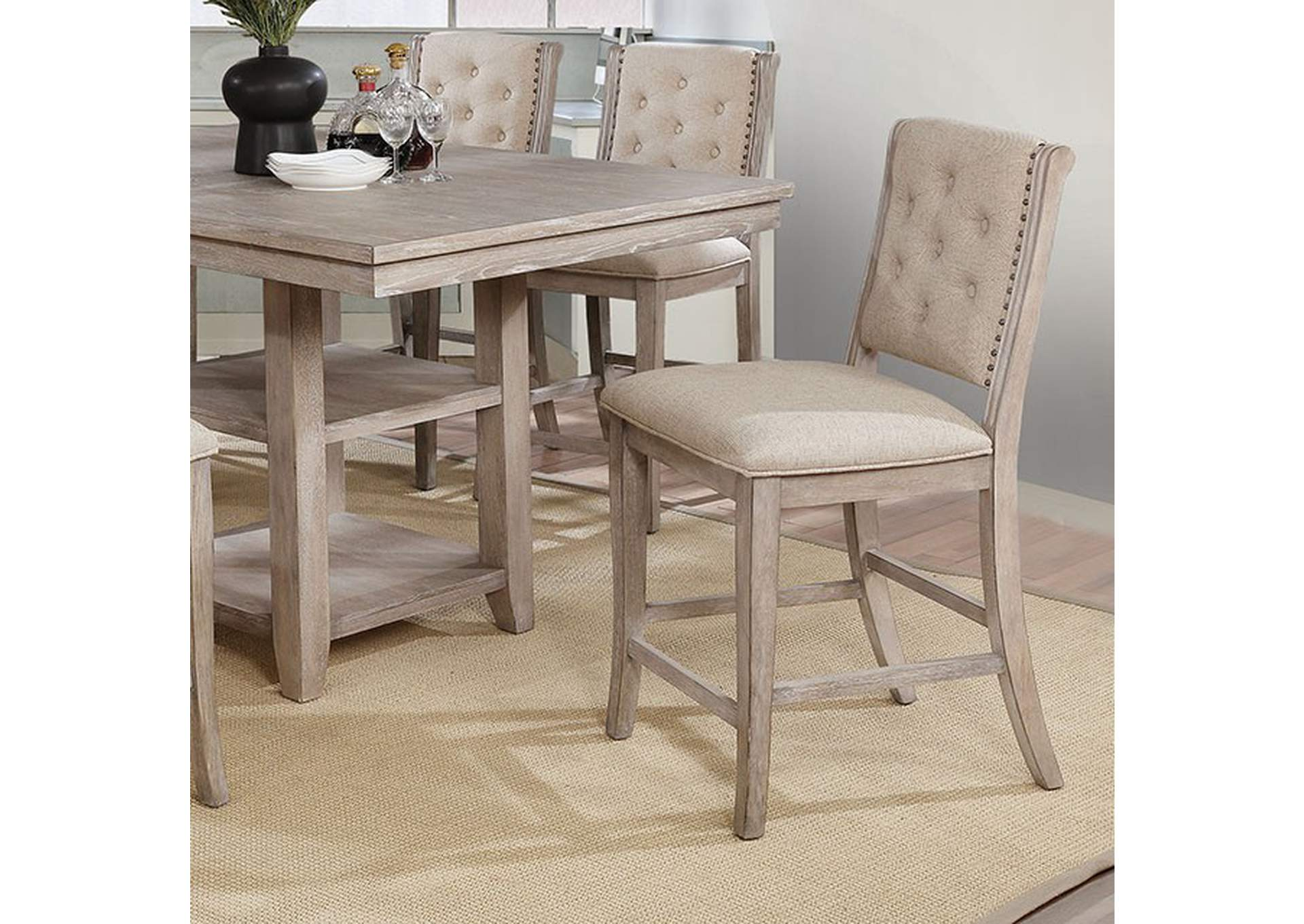 Ledyard Rustic Natural Tone Counter Height Side Chair [Set of 2],Furniture of America