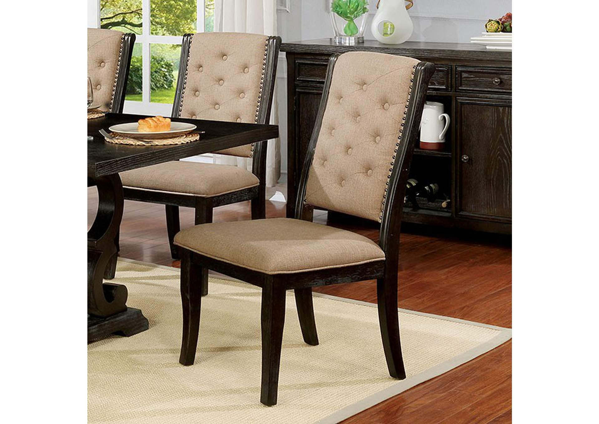 Patience Dark Walnut Side Chair [Set of 2],Furniture of America