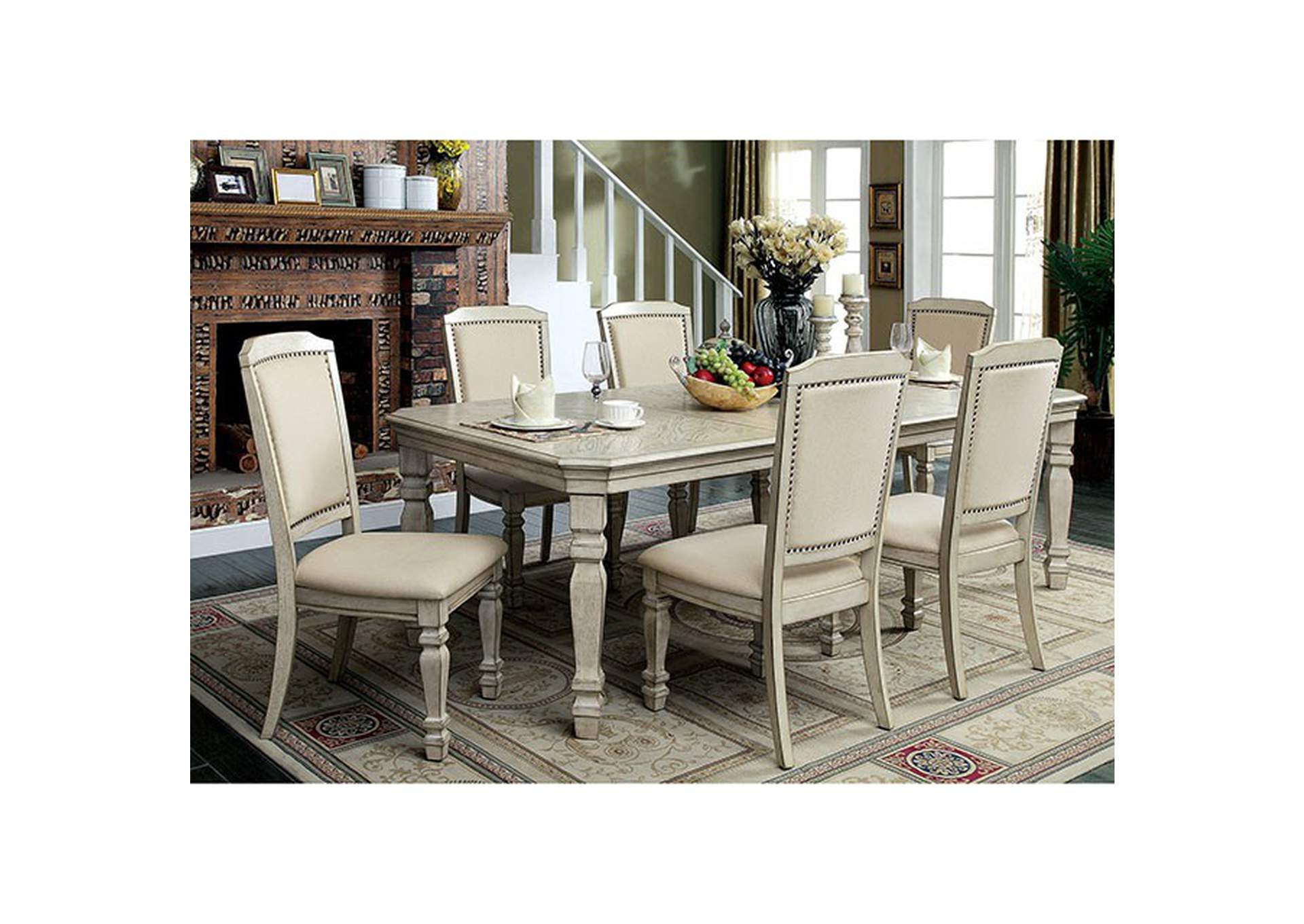 Holcroft Antique White Dining Table,Furniture of America