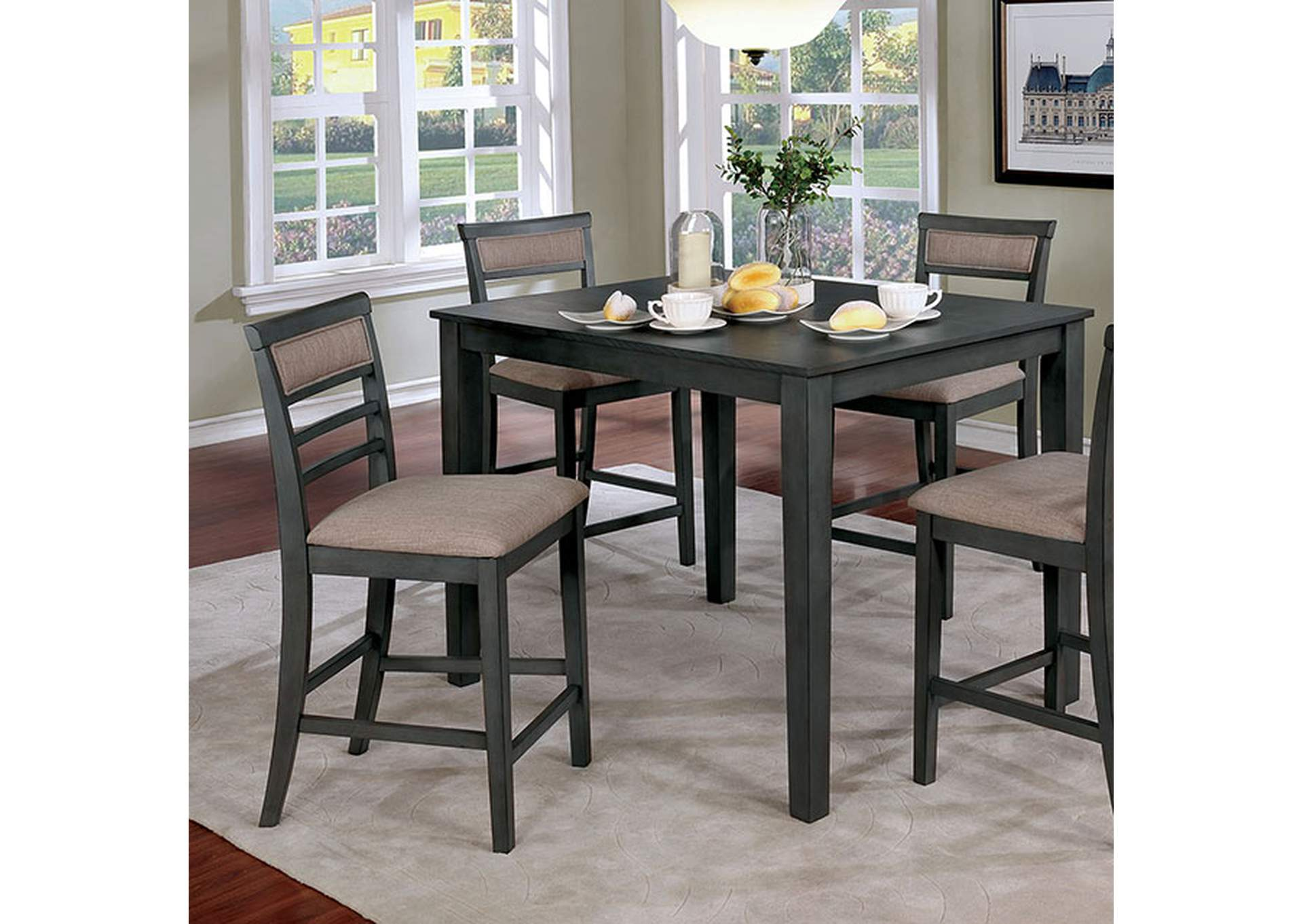 Fafnir Gray 5 Piece Counter Table Set,Furniture of America