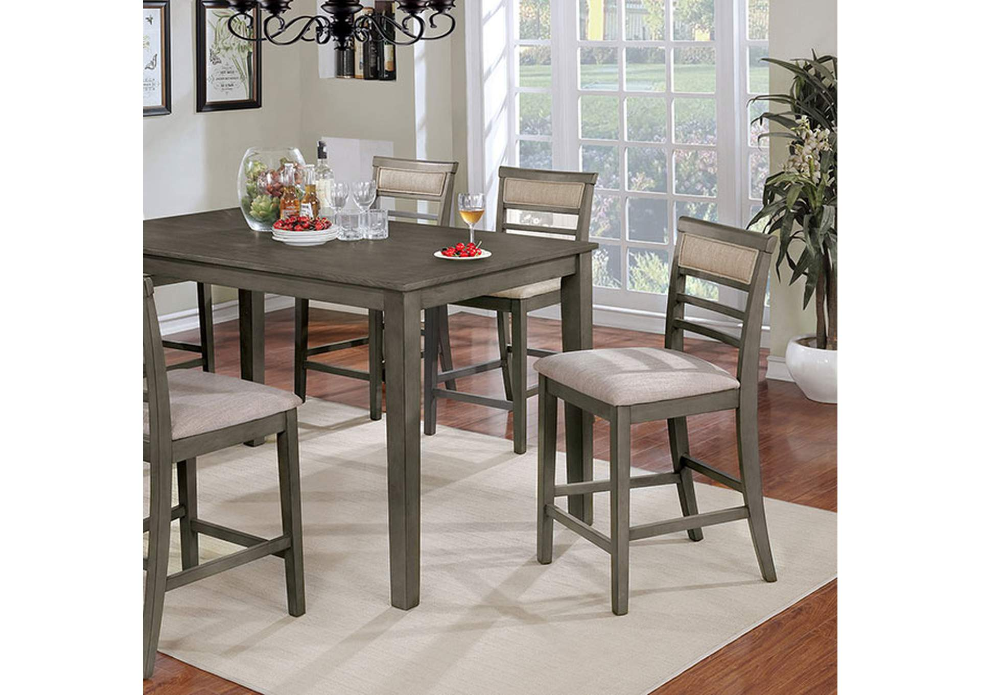 Fafnir Weathered Gray 7 Piece Counter Height Table Set,Furniture of America