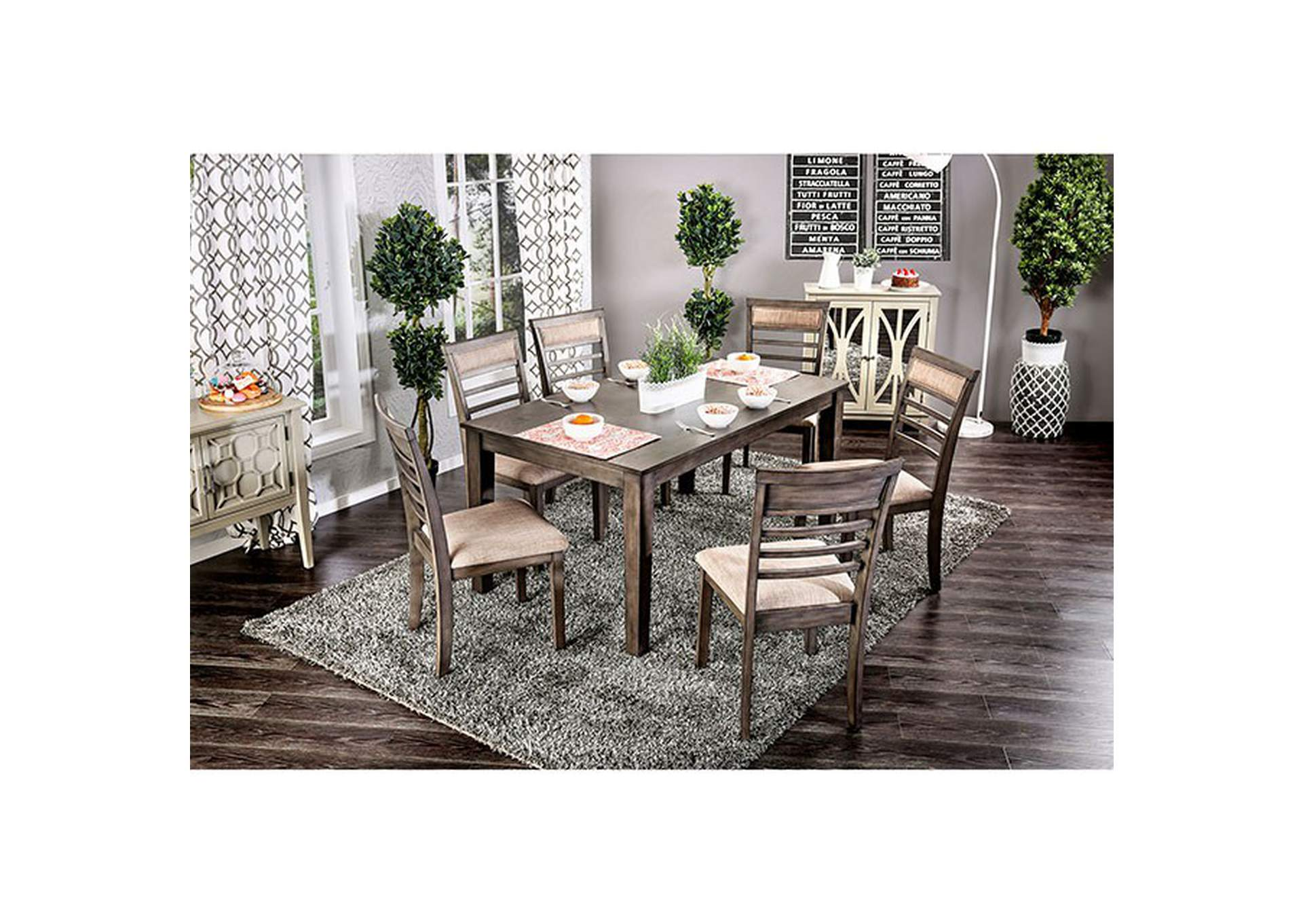 Taylah Weathered Gray 7 Piece Dining Set,Furniture of America