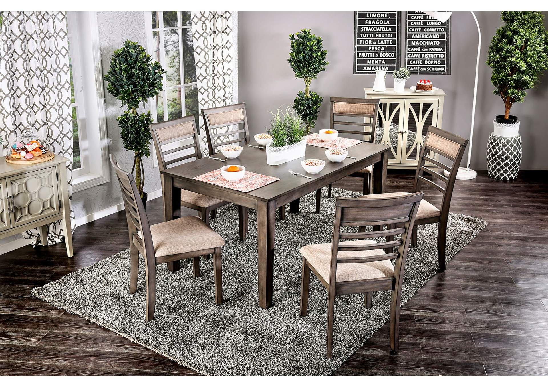 Taylah Weathered Gray 7 Piece Dining Table Set,Furniture of America