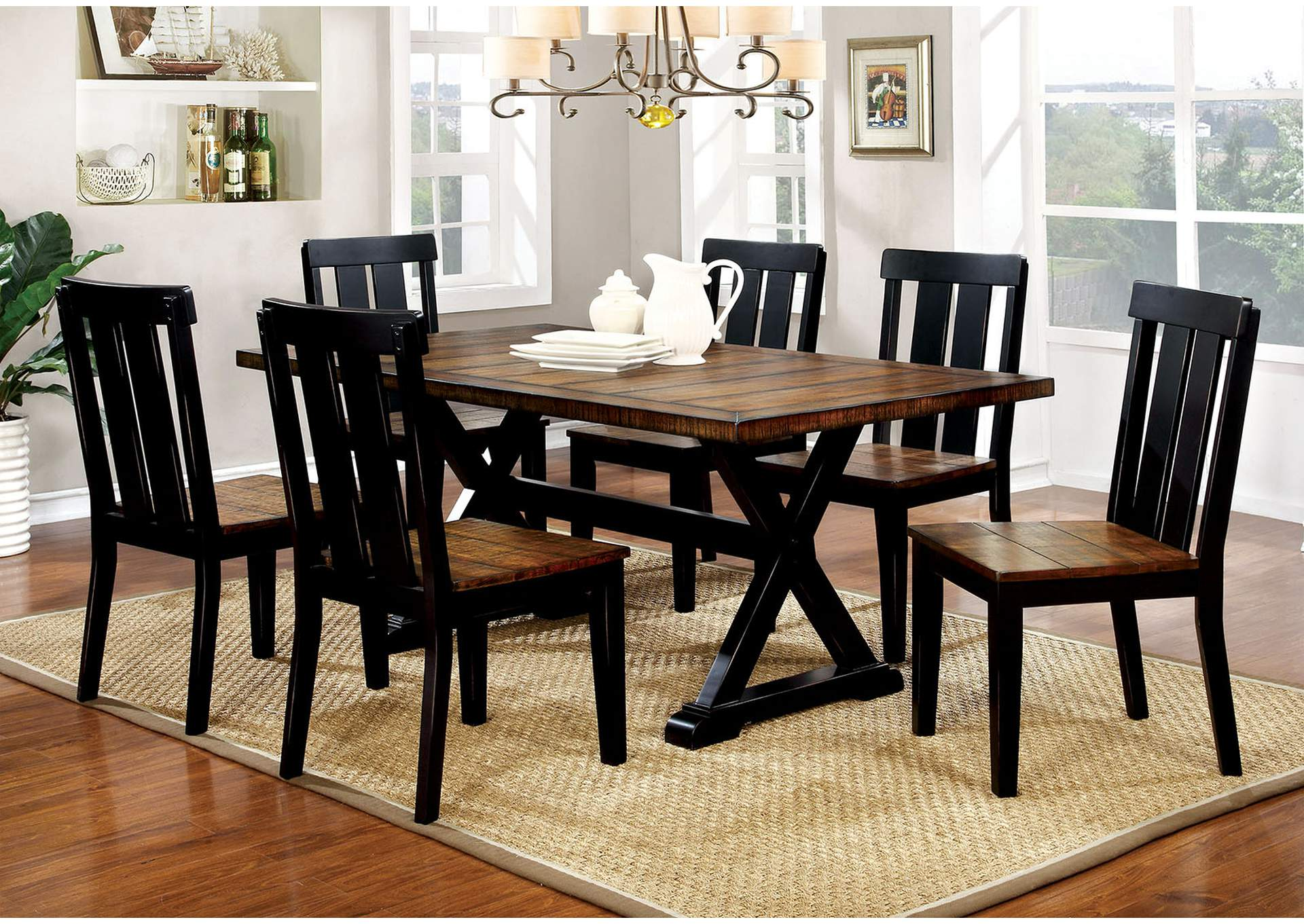Alana Antique Oak/Black Dining Table,Furniture of America