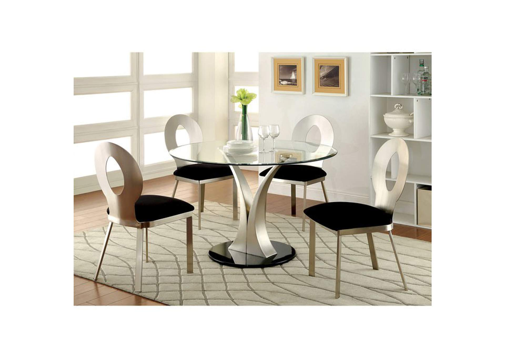Valo Silver/Black Dining Table w/Glass Top,Furniture of America