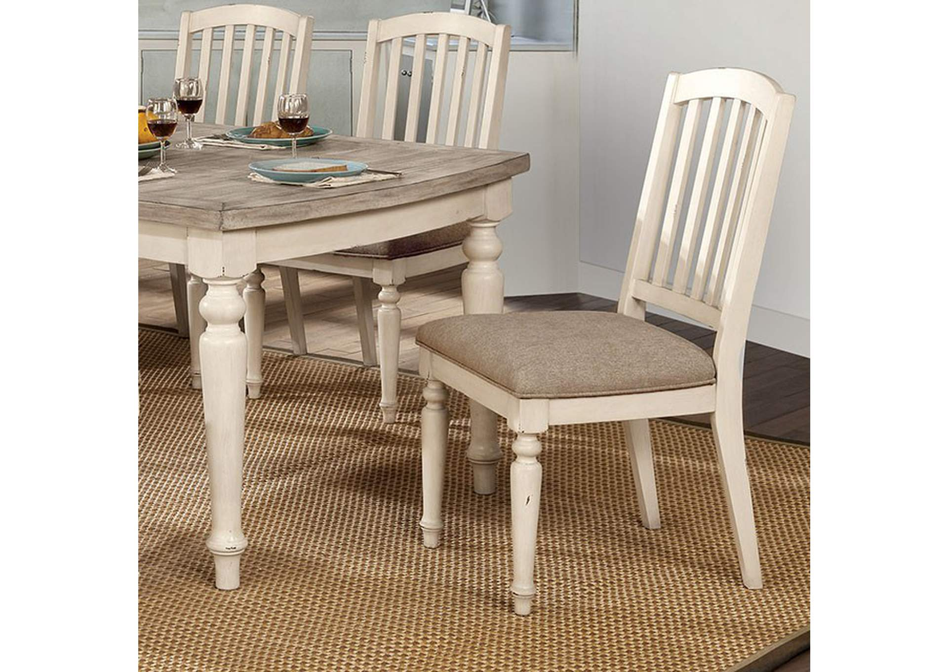 Summer Antique White Side Chair [Set of 2],Furniture of America