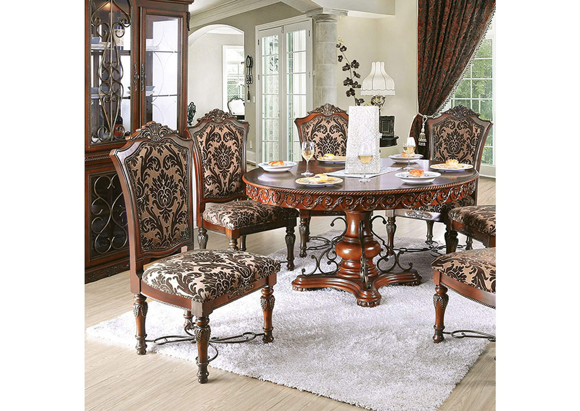 Lucie Brown Cherry Round Dining Table,Furniture of America