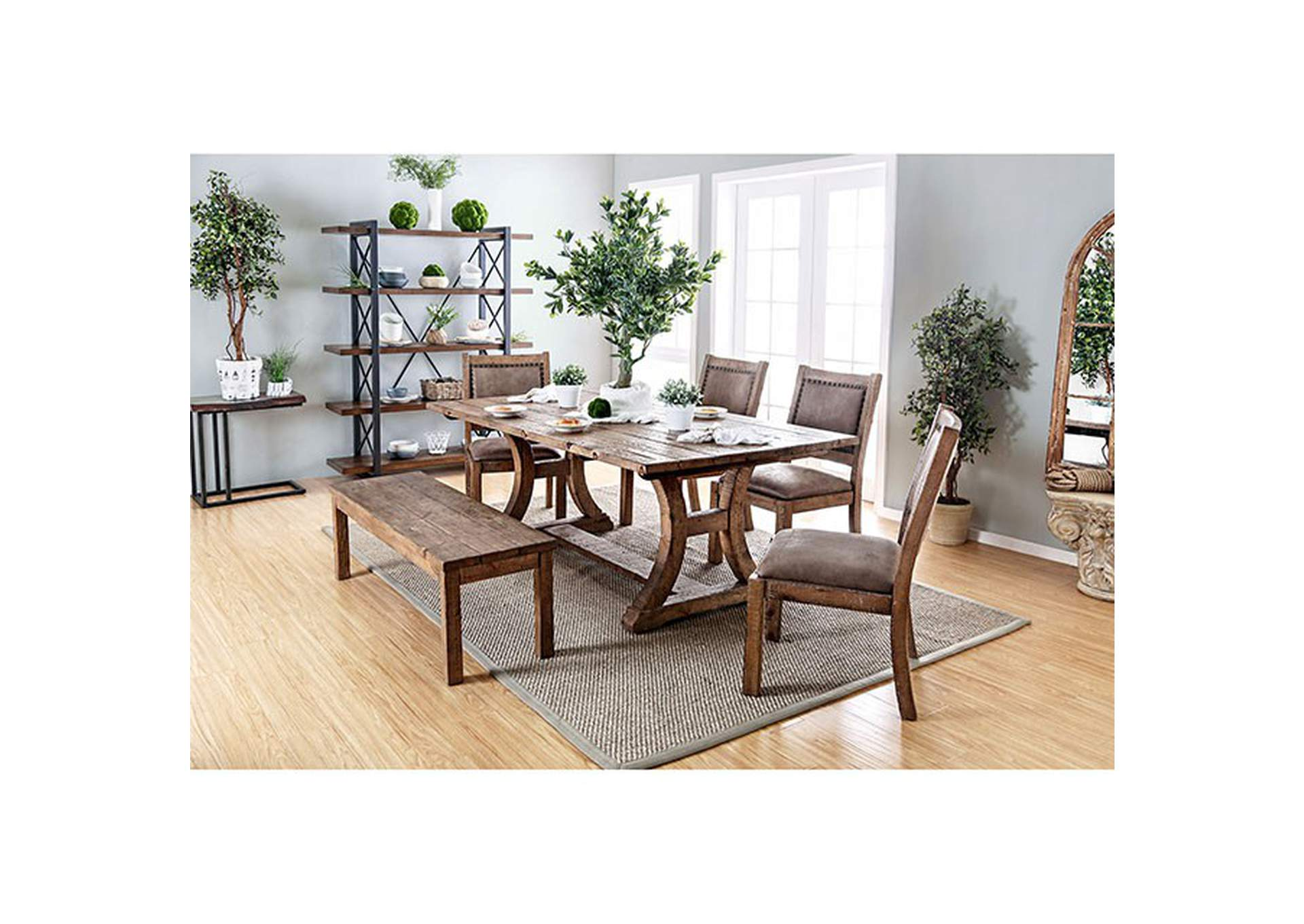 "Gianna Rustic Oak 77"" Dining Table,Furniture of America"