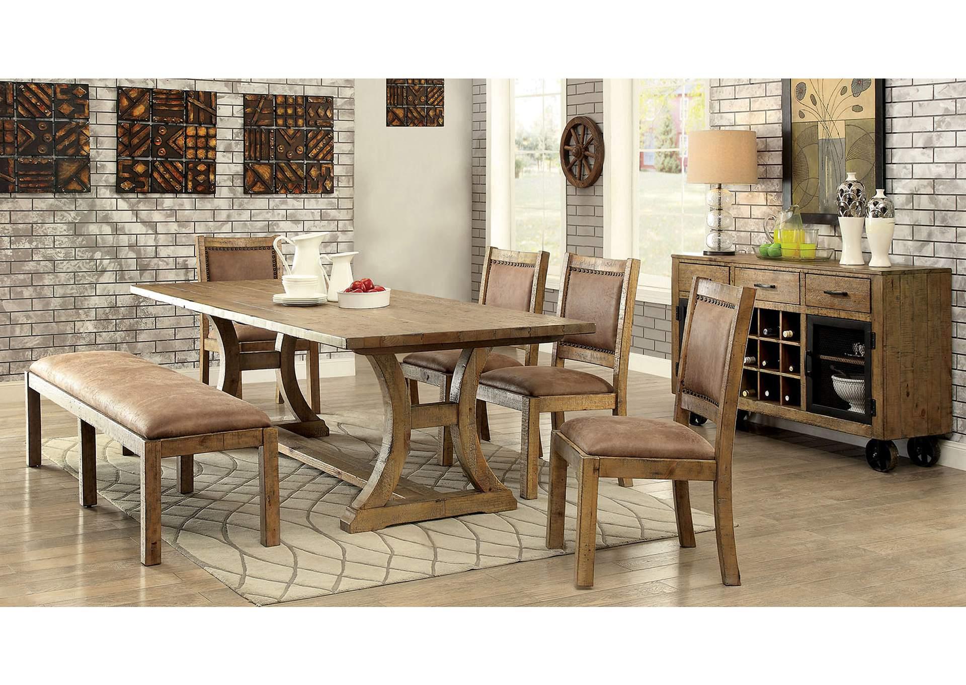 "Gianna Rustic Oak 96"" Dining Table,Furniture of America"