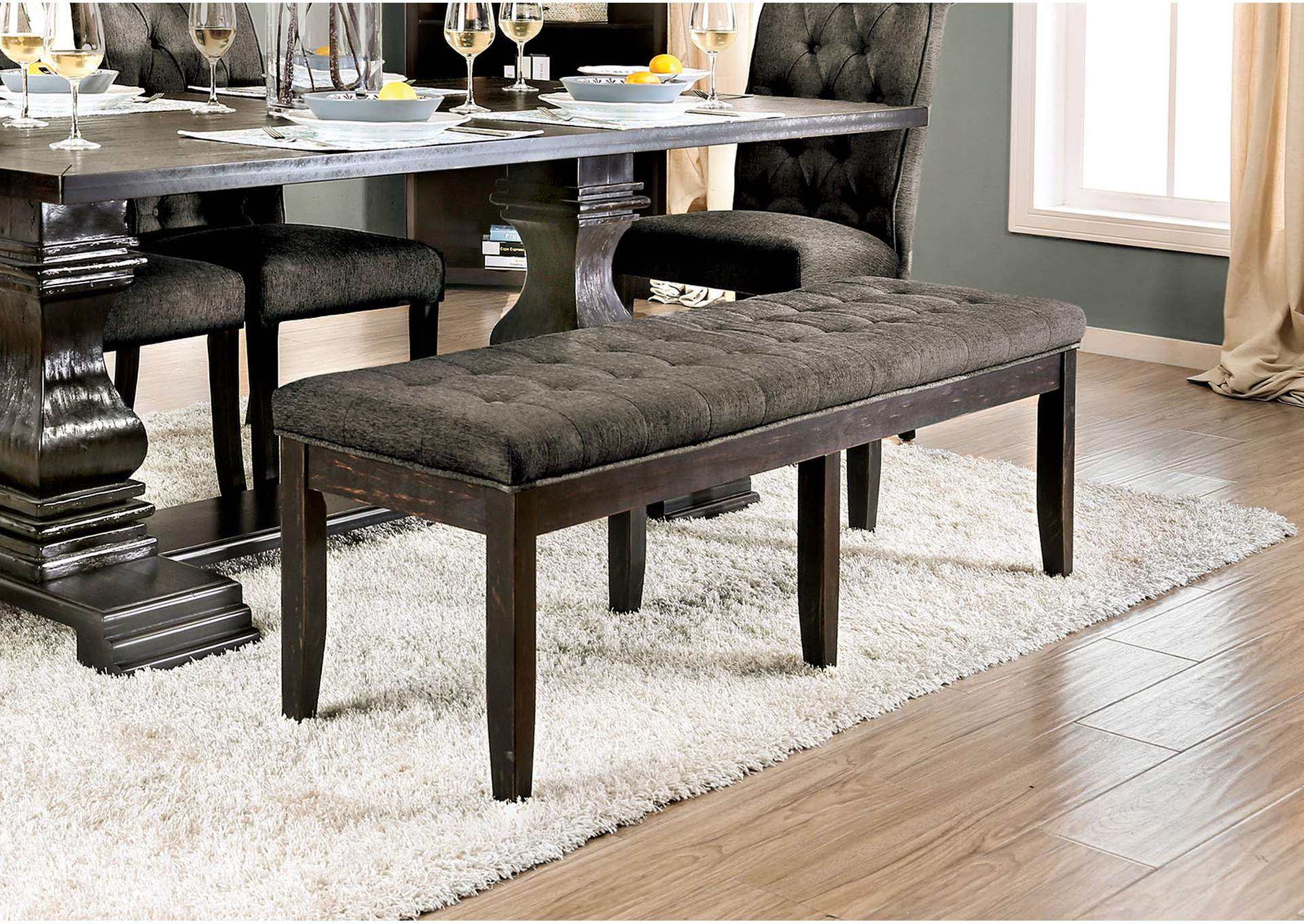 Nerissa Gray Upholstered Bench,Furniture of America