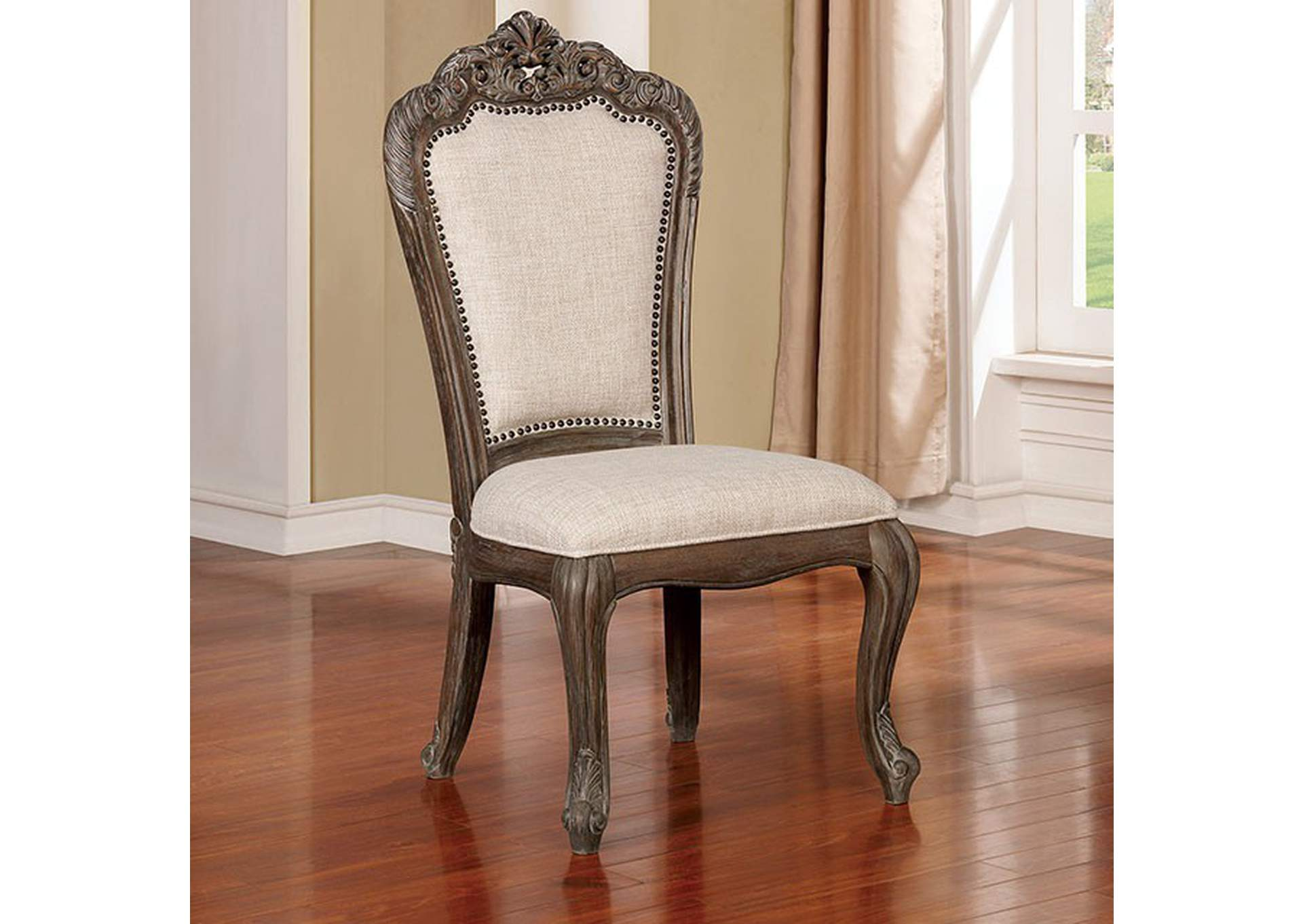 Charmaine Antique Brushed Gray Side Chair [Set of 2],Furniture of America