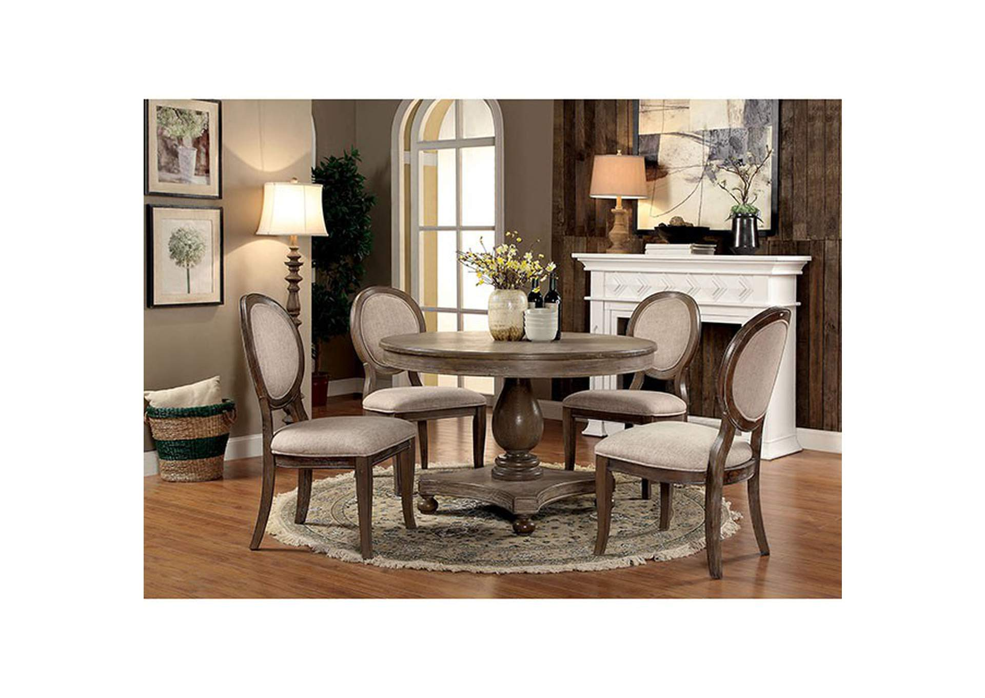 Kathryn Rustic Oak/Beige Upholstered Side Chair (Set of 2),Furniture of America