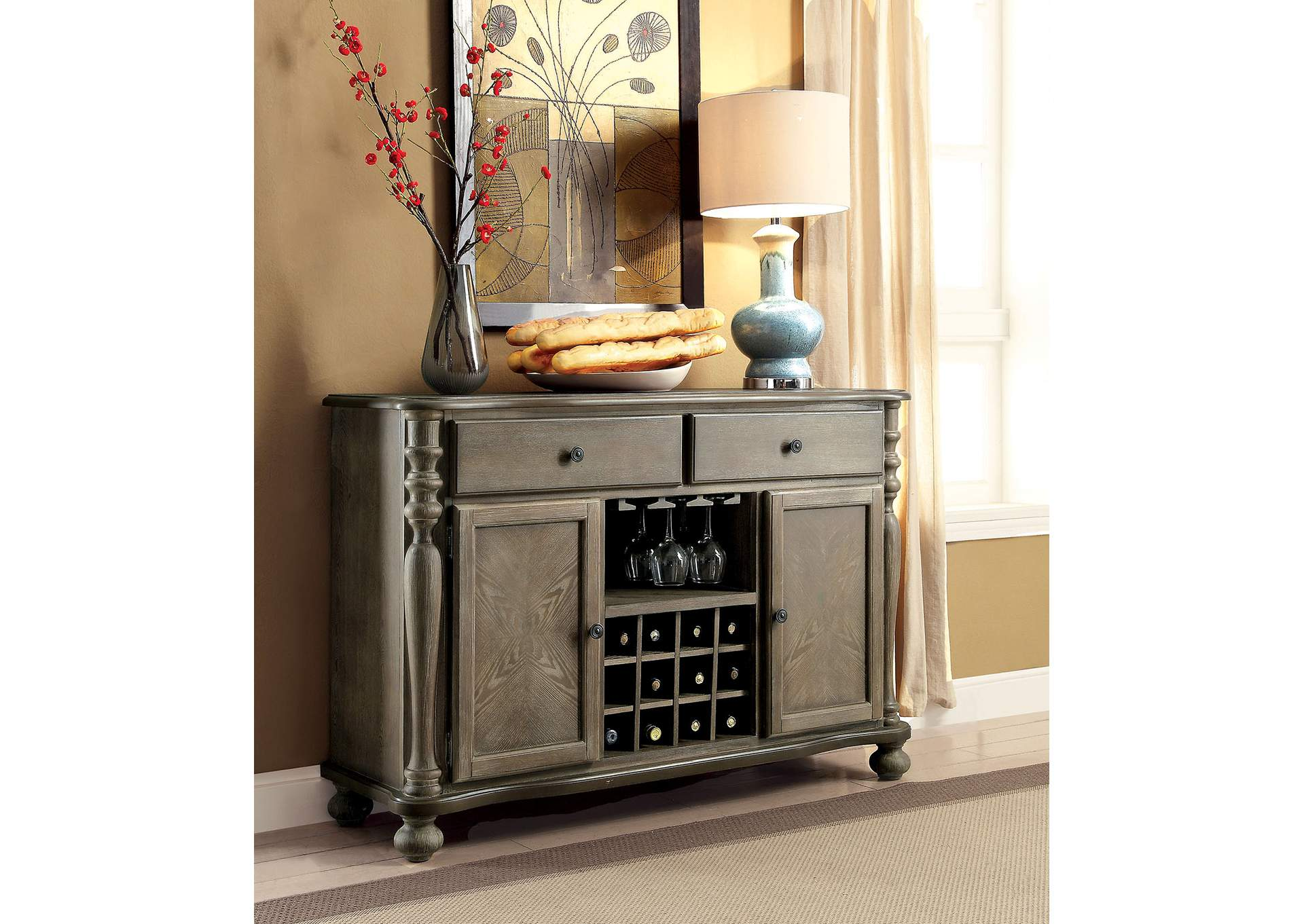 Siobhan II Rustic Dark Oak Server,Furniture of America