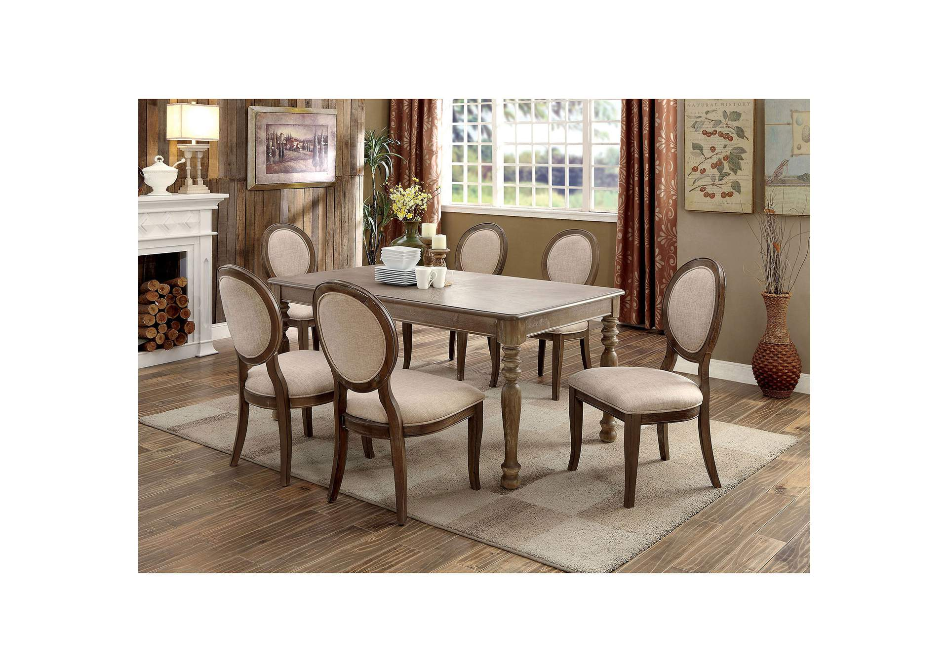 Siobhan Rustic Oak Dining Table,Furniture of America