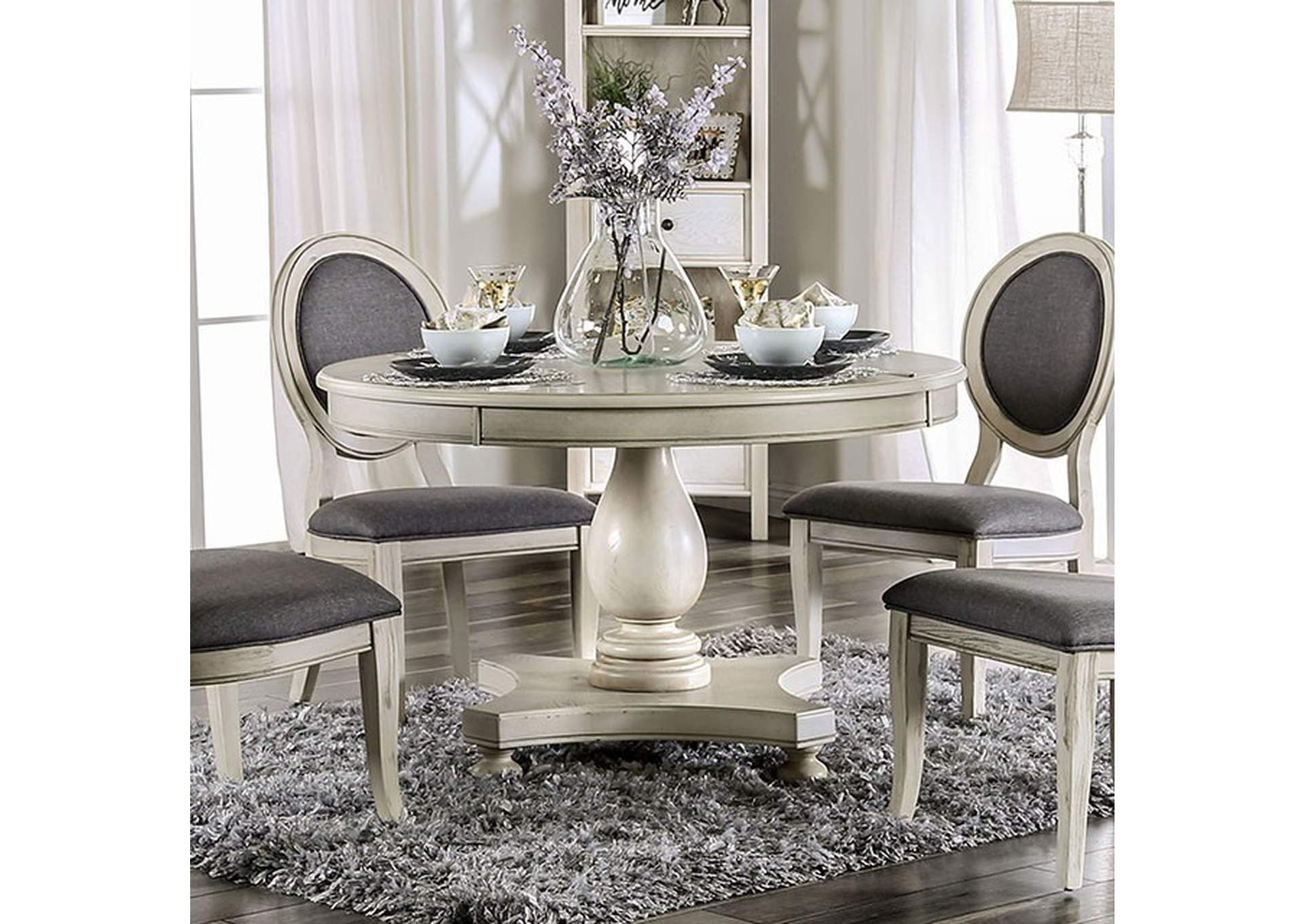 Kathryn Antique White Dining Table,Furniture of America
