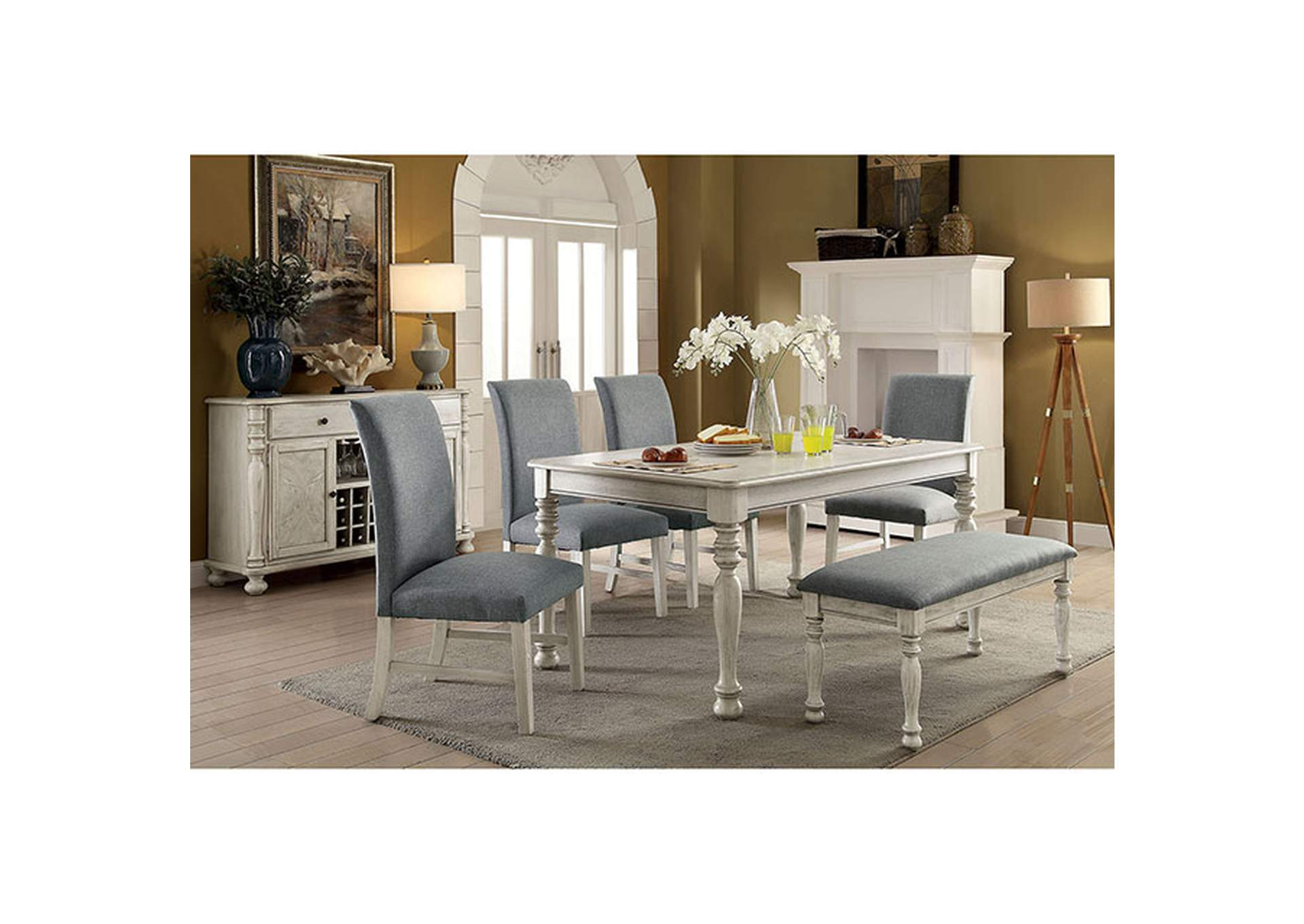 Siobhan II Antique White Dining Table,Furniture of America