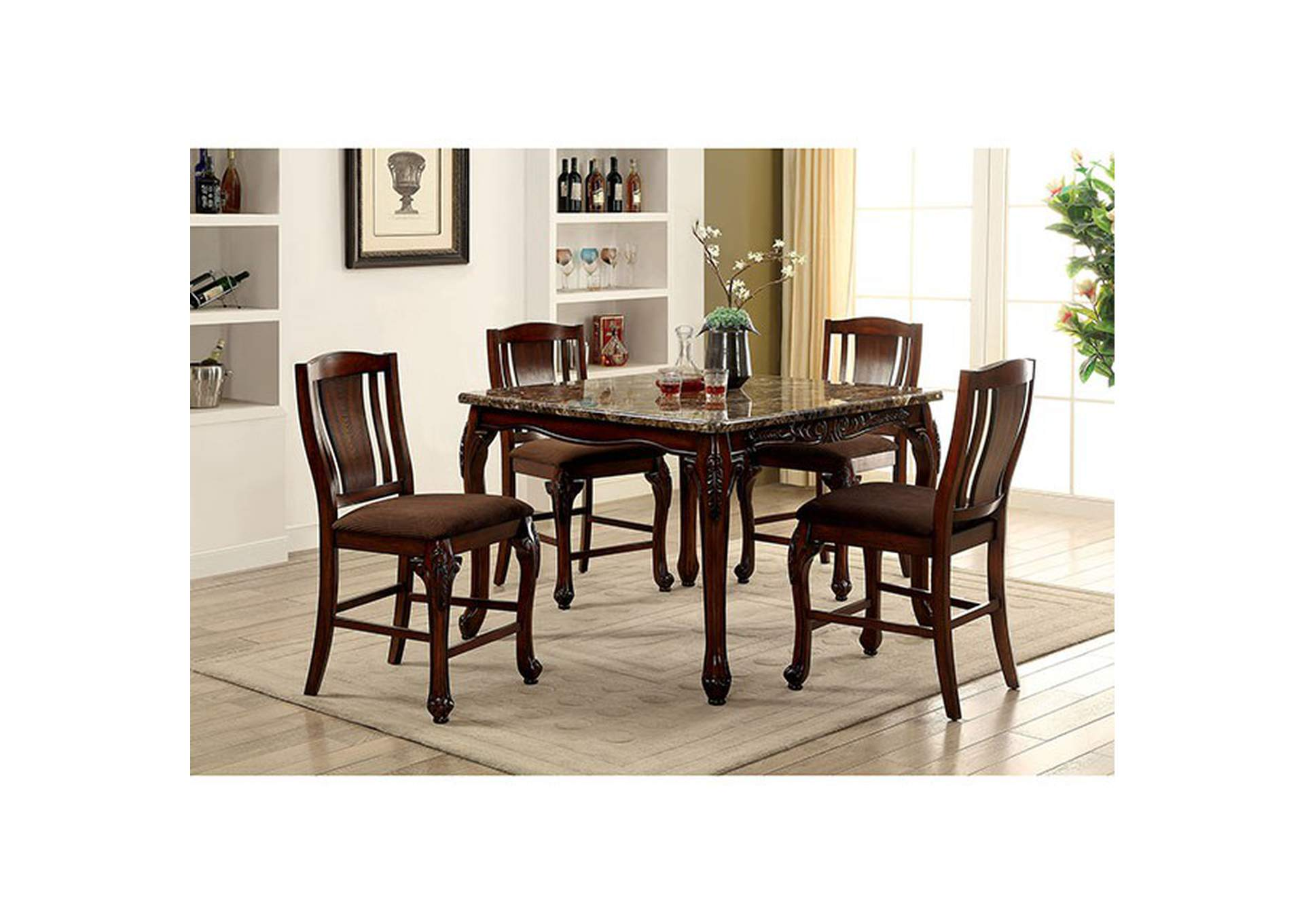 Johannesburg Brown Counter Table w/Faux Marble Top,Furniture of America