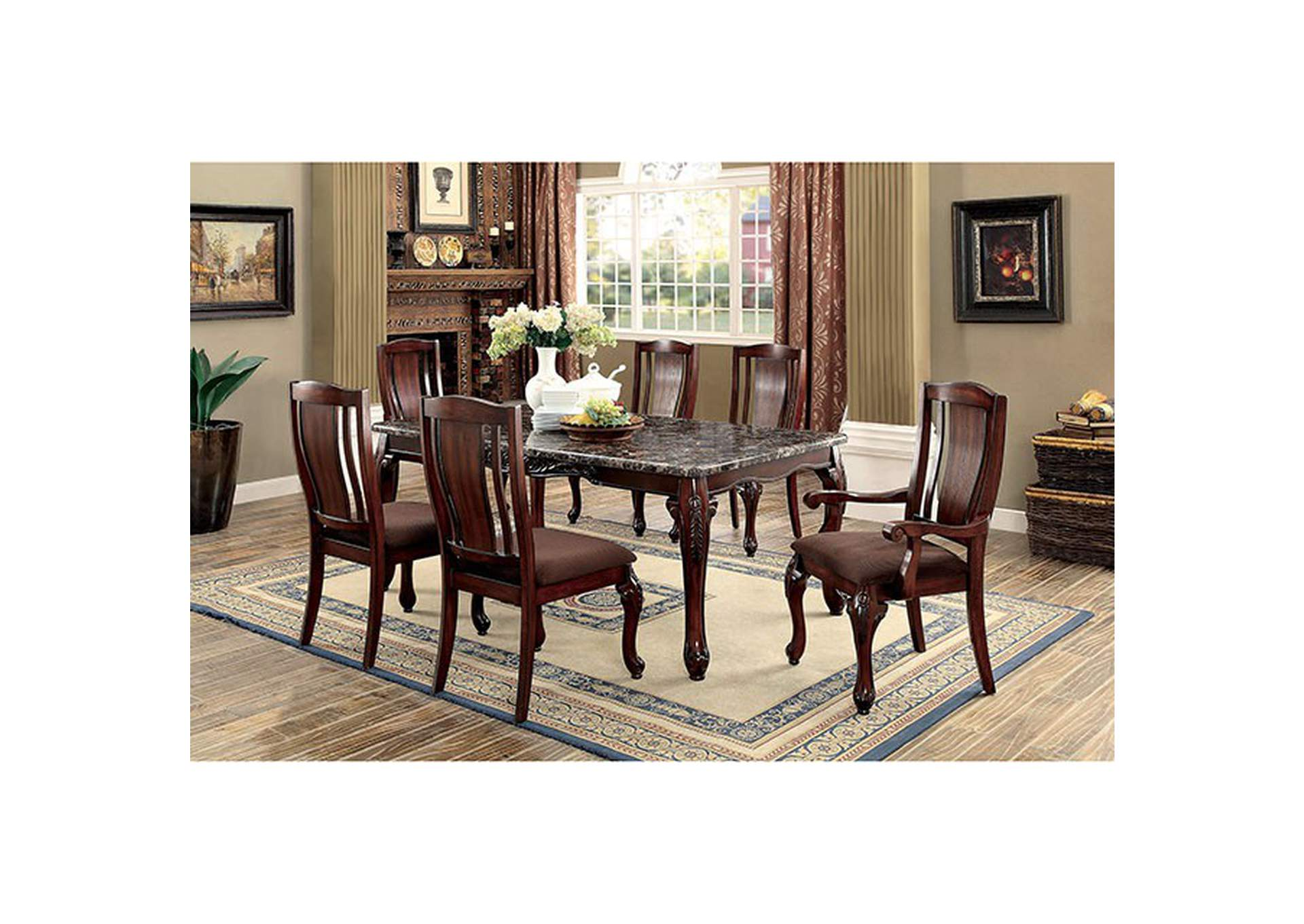 Johannesburg I Brown Dining Table w/Faux Marble Top,Furniture of America