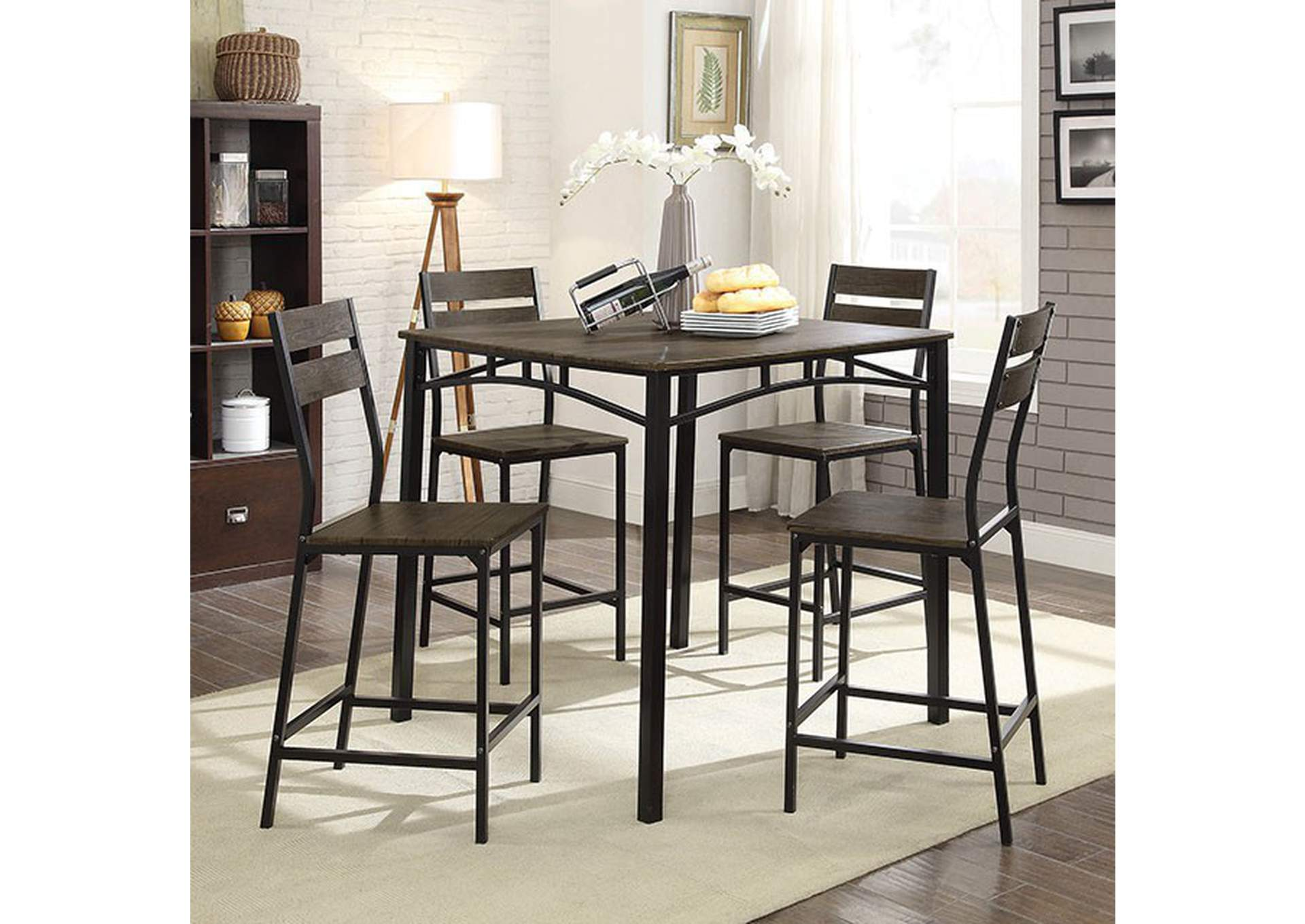 Westport Antique Brown 5 Piece Counter Height Table Set,Furniture of America