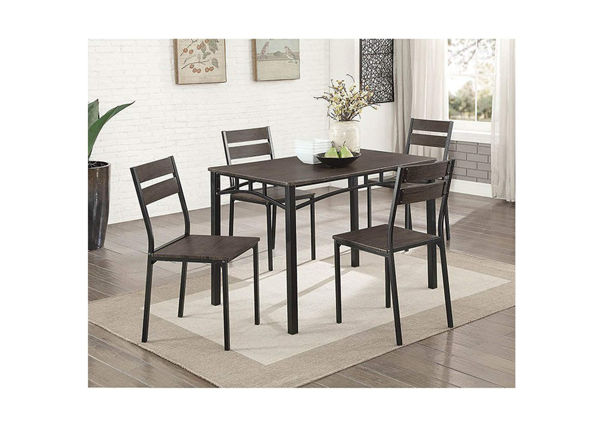 Westport Antique Brown/Black 5 Piece. Dining Set,Furniture of America