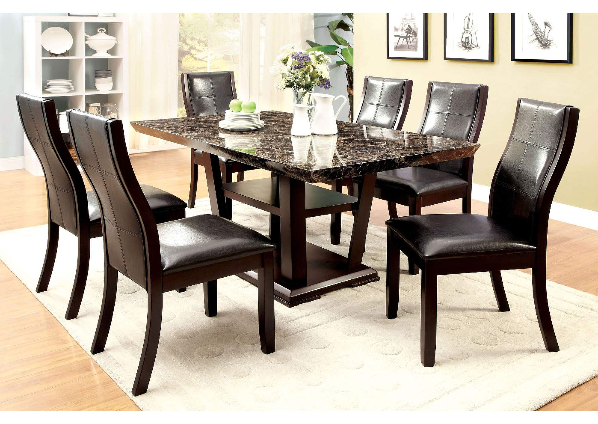 Clayton l Dining Table w/Faux Marble Top,Furniture of America