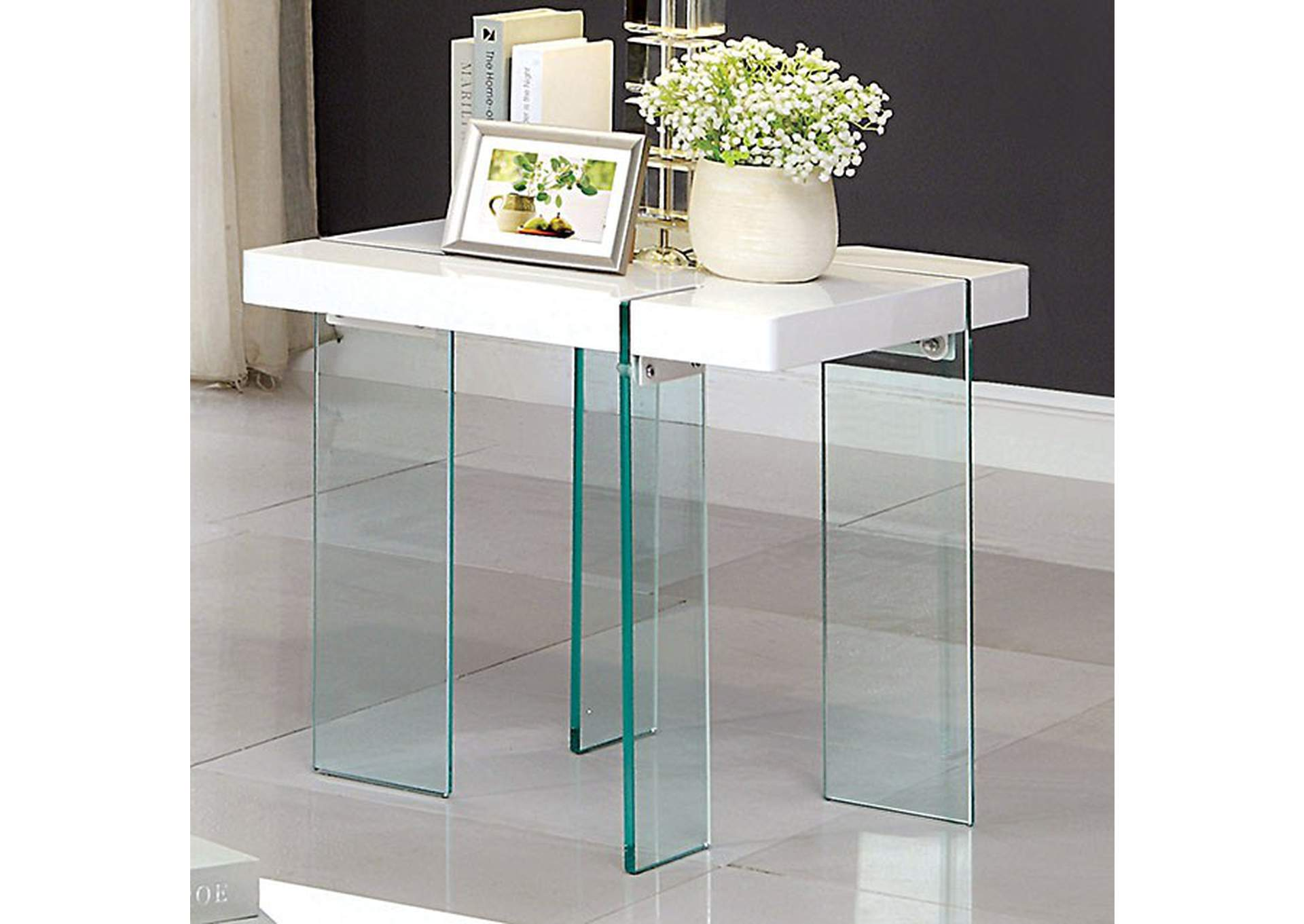Thorold White End Table,Furniture of America