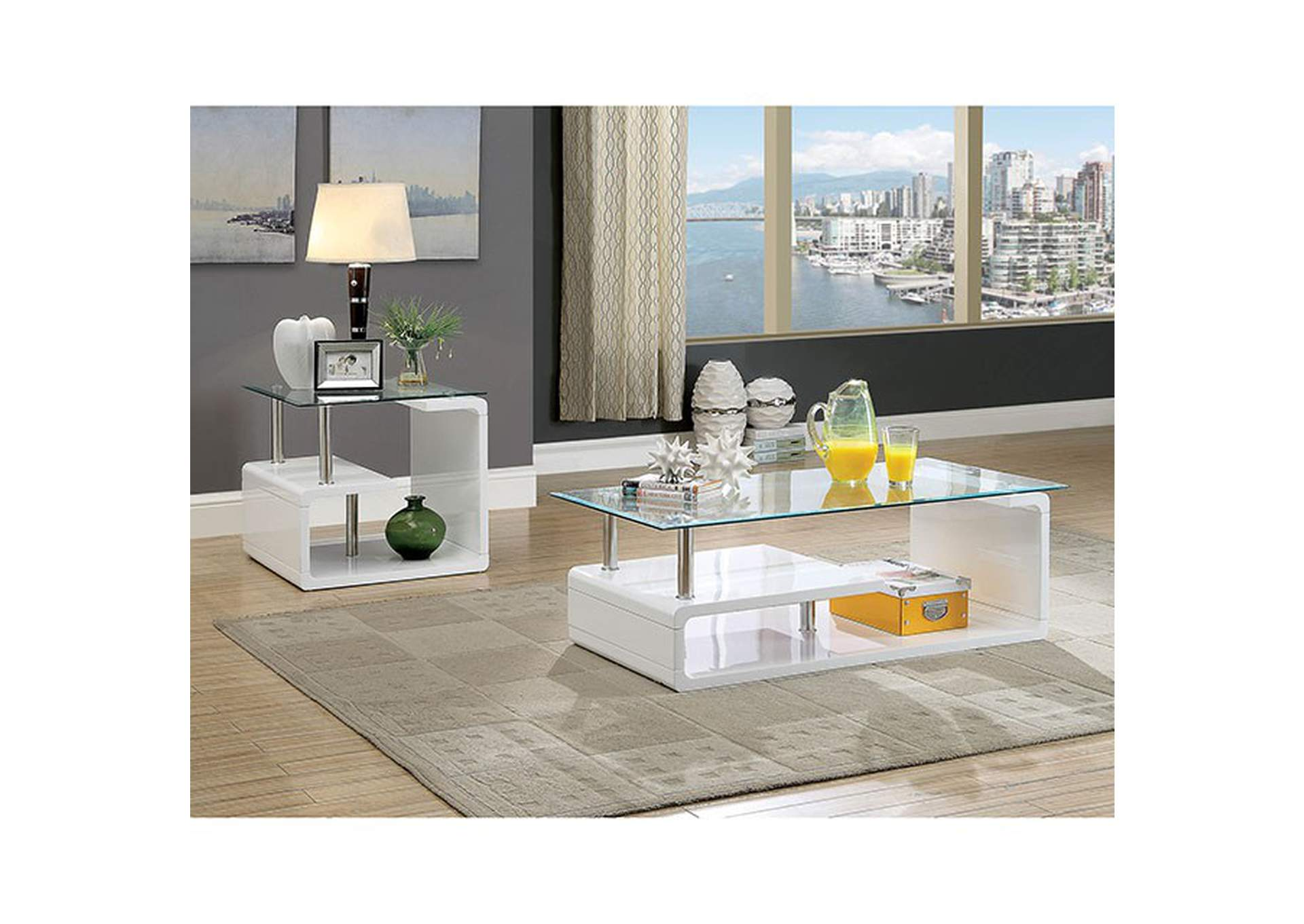 Torkel White End Table,Furniture of America