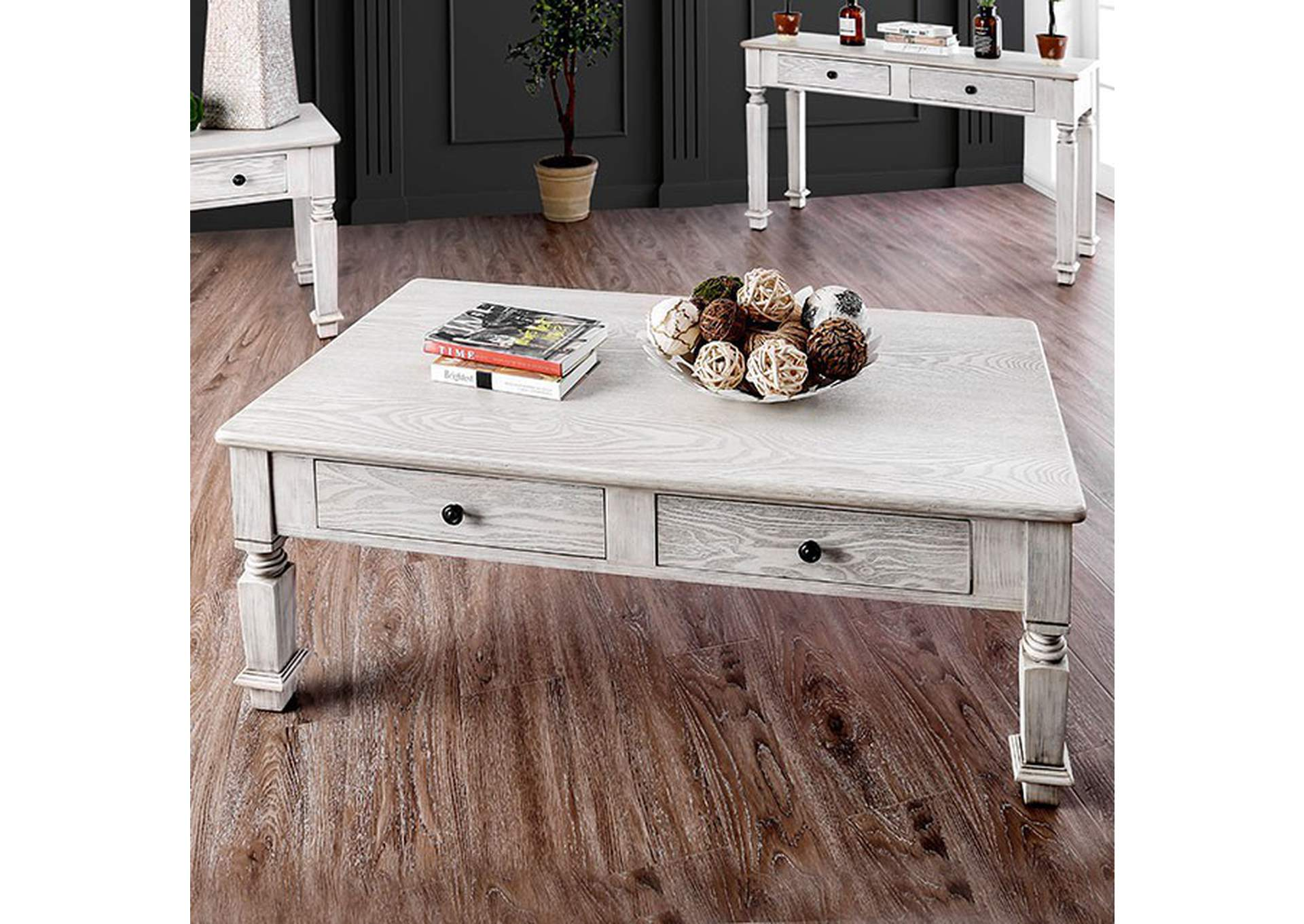 Joliet Antique White Coffee Table,Furniture of America