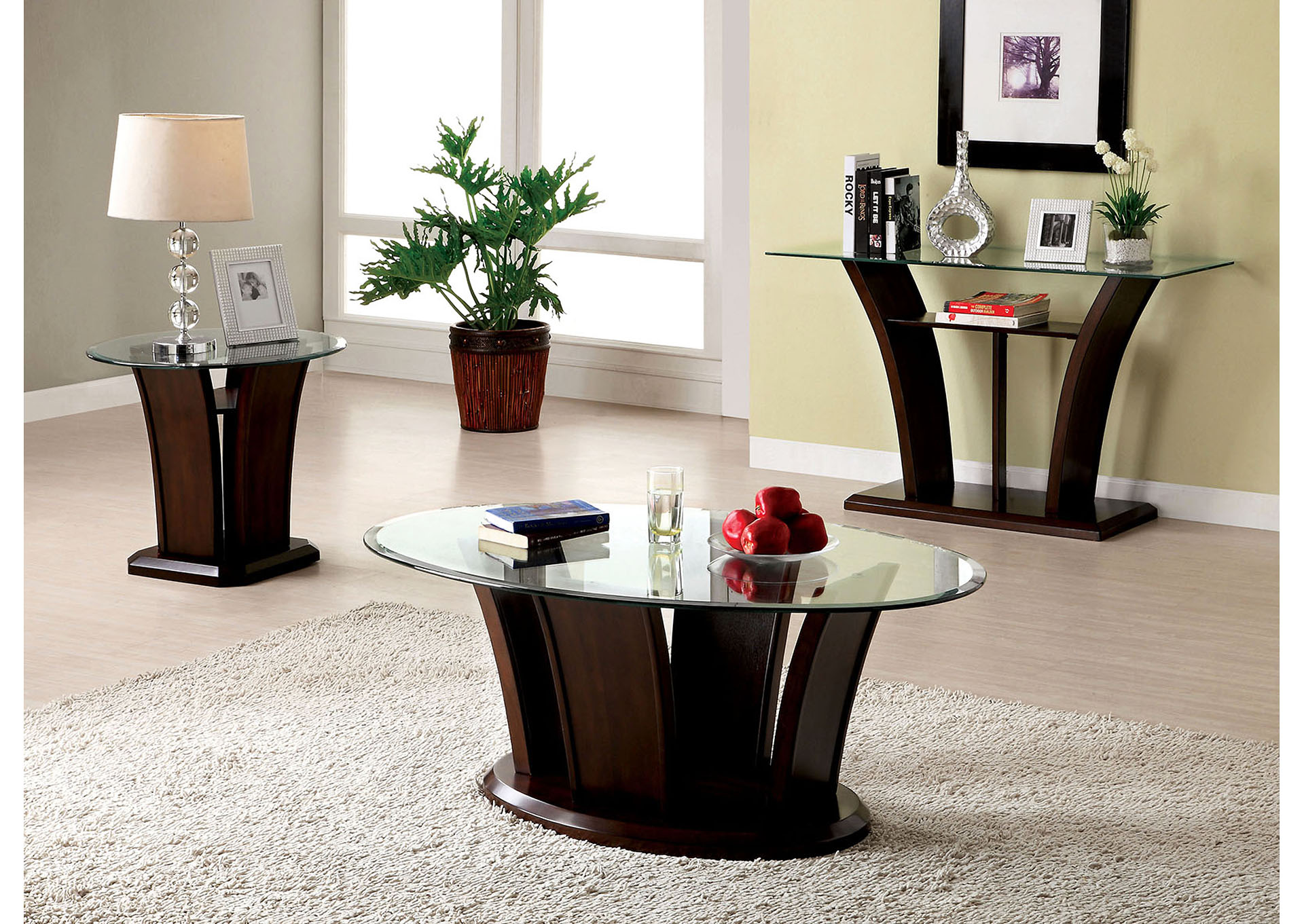Manhattan Brown Cherry Coffee Table,Furniture of America