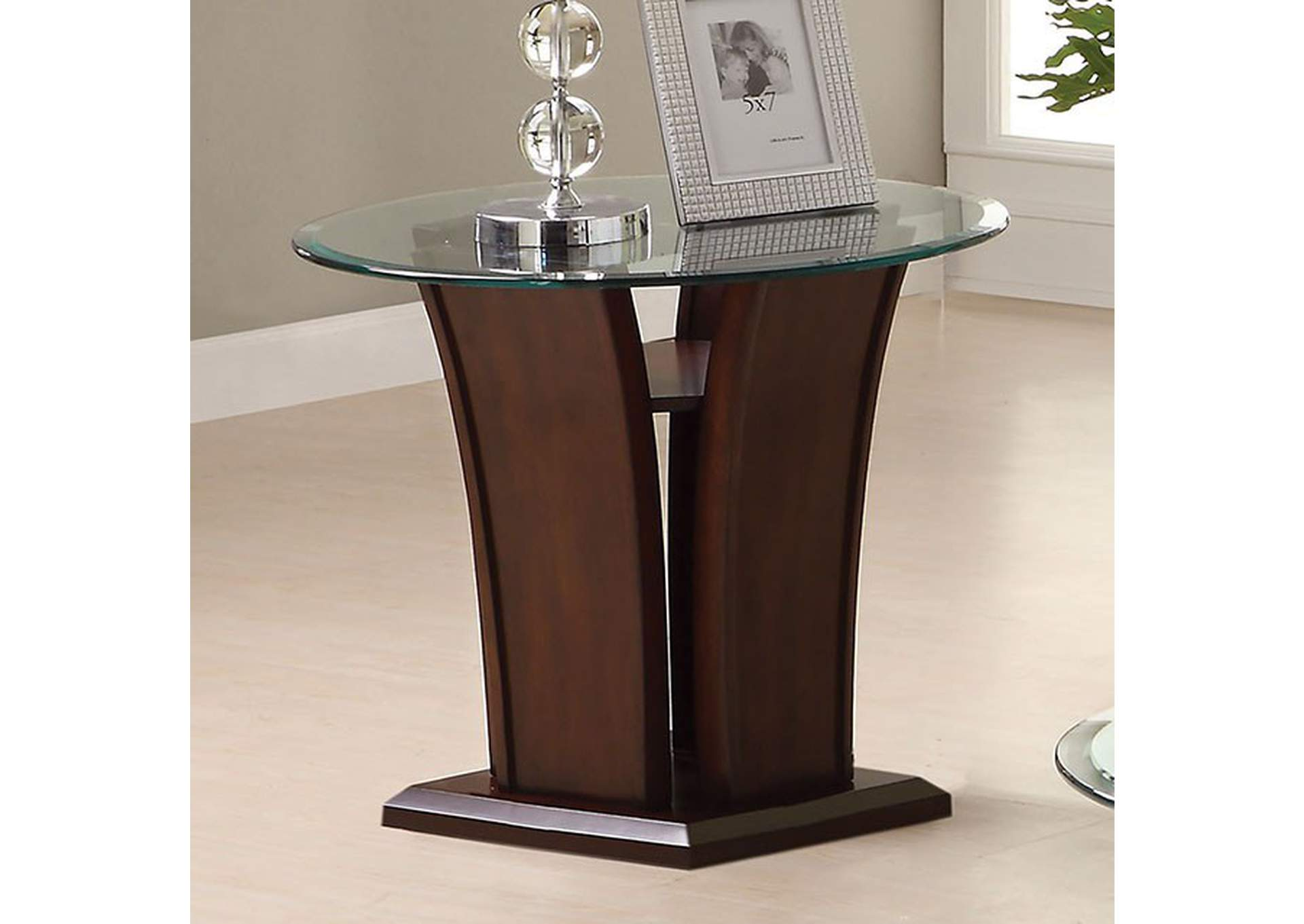 Manhattan Brown Cherry End Table,Furniture of America