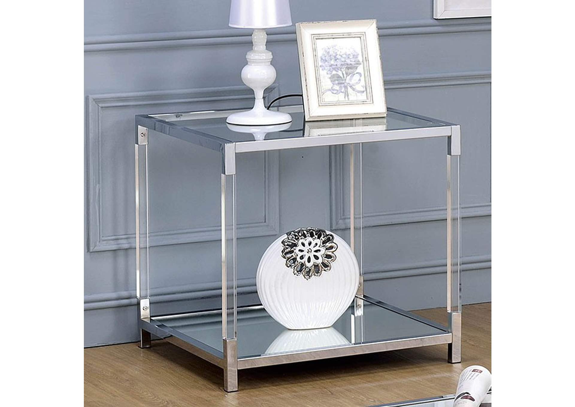 Ludvig Chrome End Table,Furniture of America