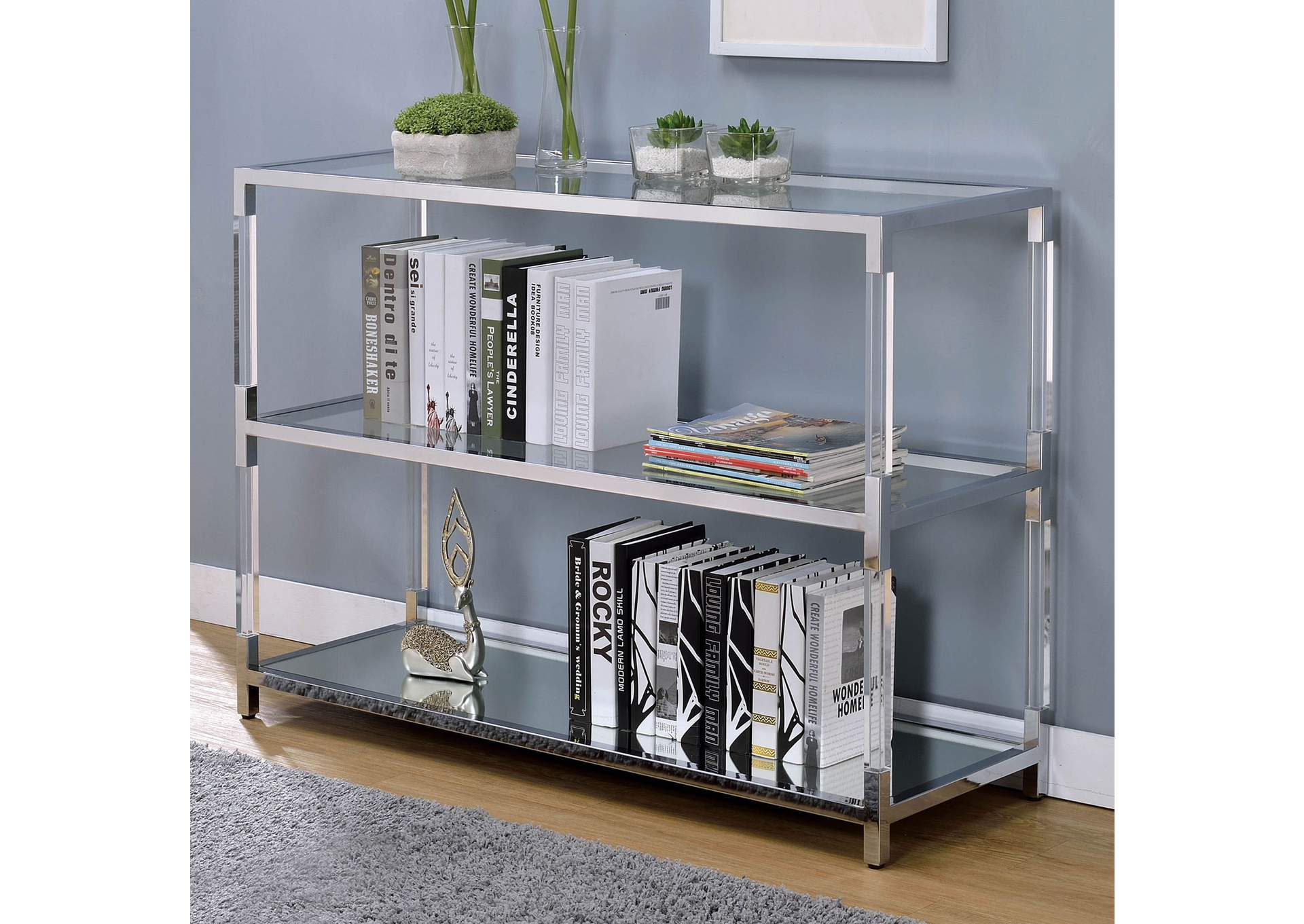 Ludvig Chrome Sofa Table,Furniture of America