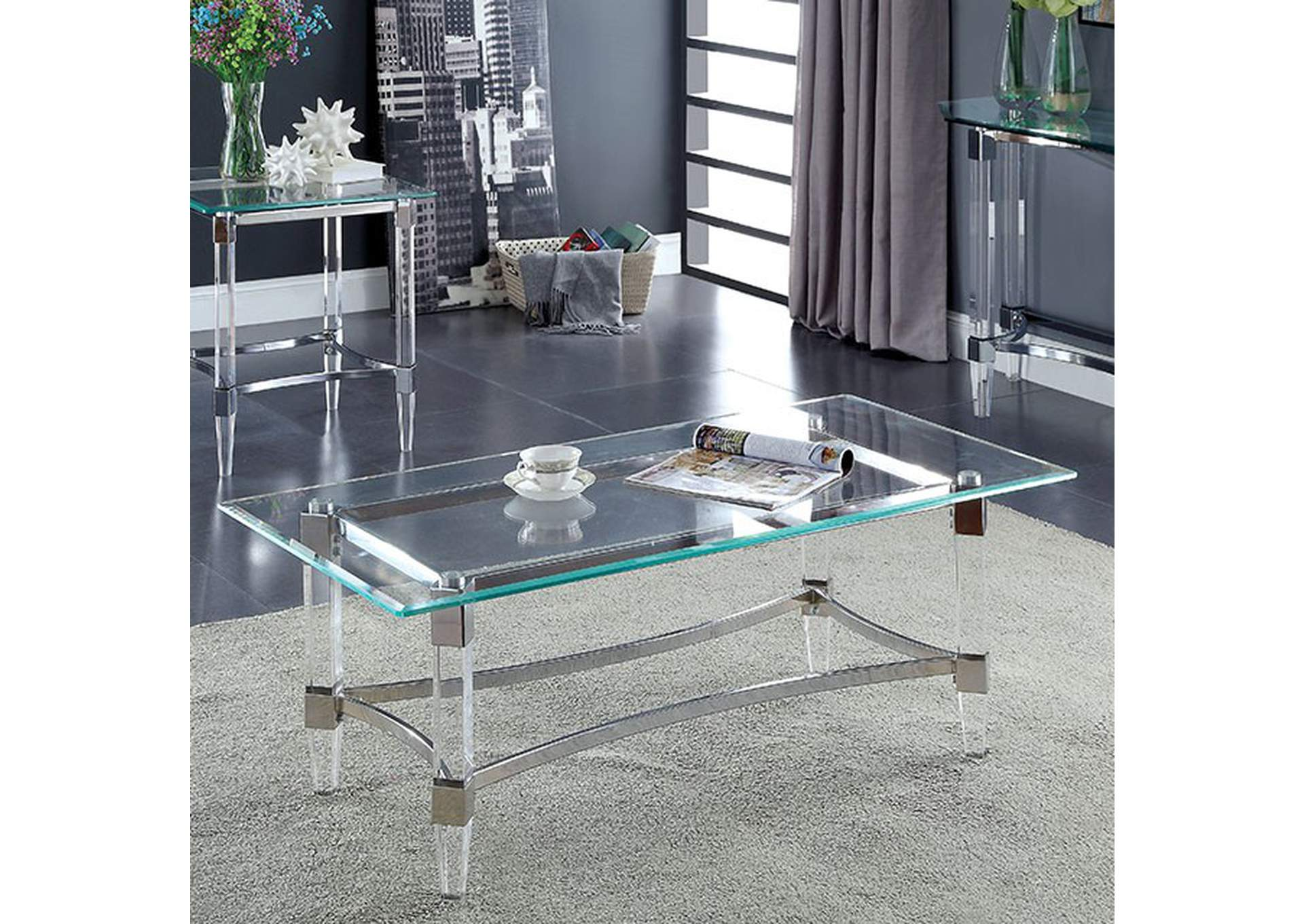 Beaumaris Clear Coffee Table,Furniture of America