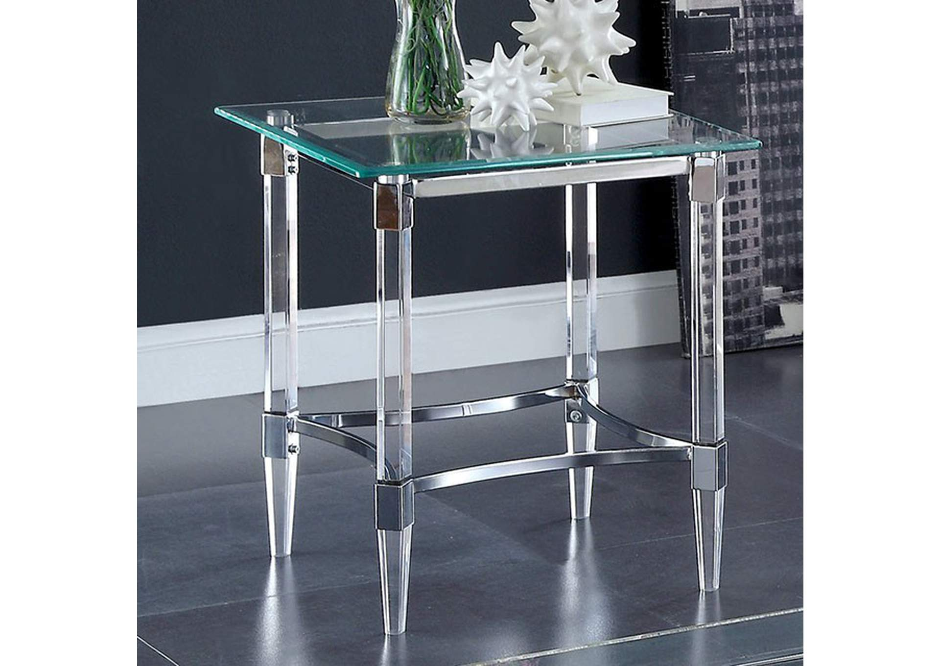 Beaumaris Clear End Table,Furniture of America
