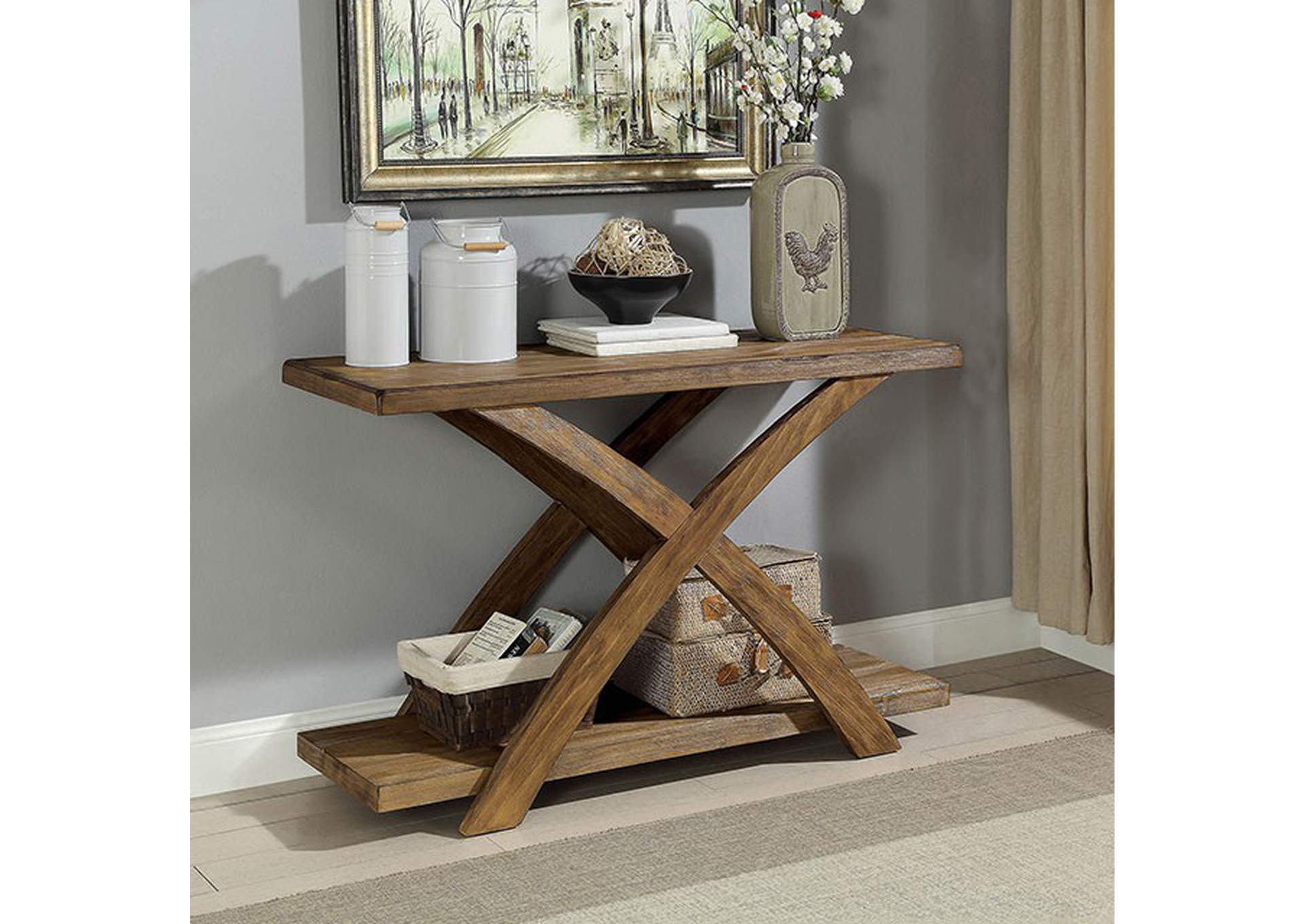 Bryanna Antique Light Oak Sofa Table,Furniture of America