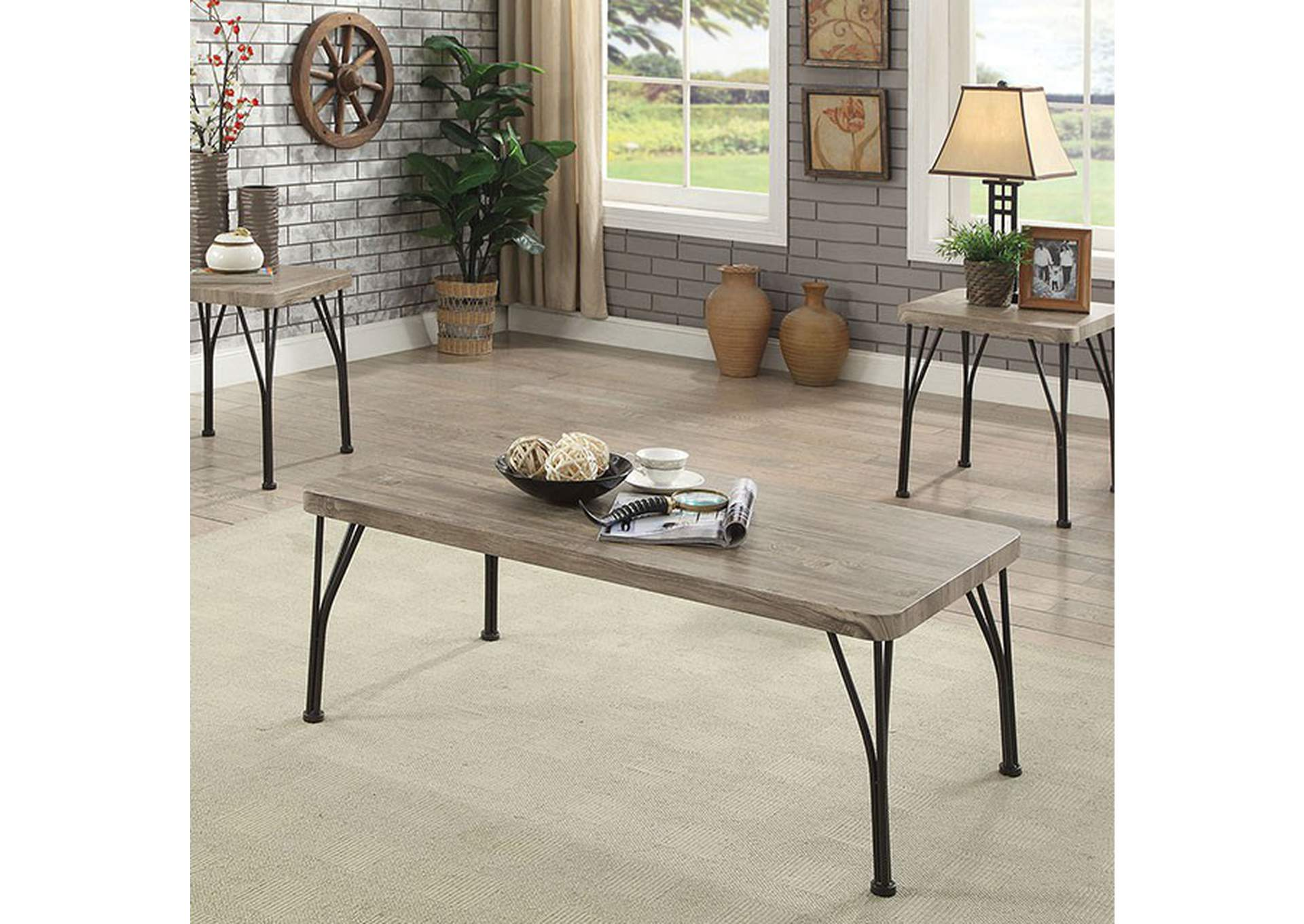 Majorca Gray/Dark Bronze 3 Piece Set,Furniture of America