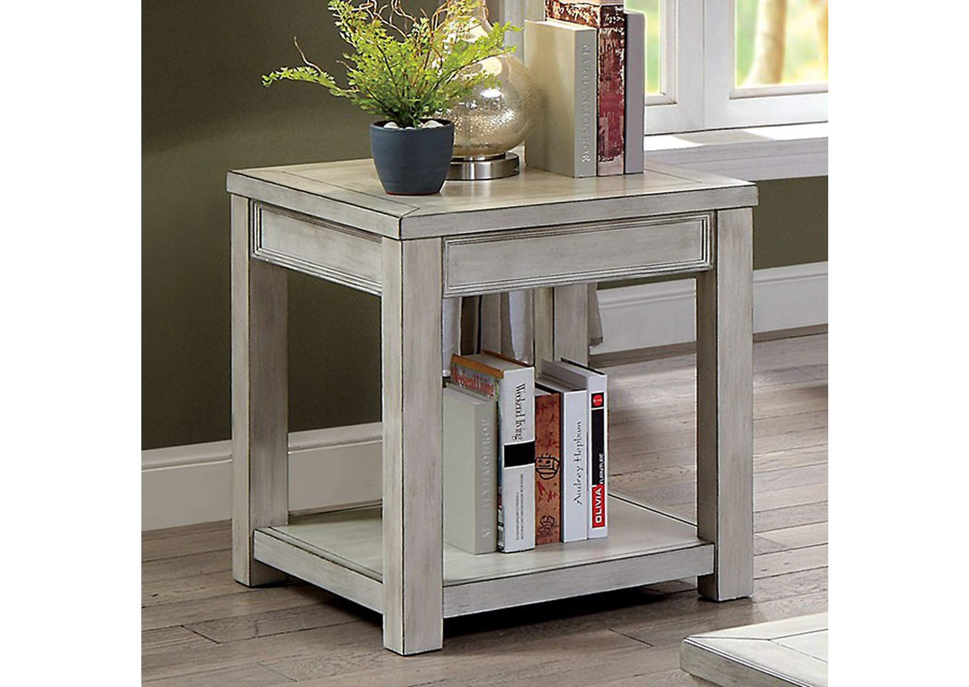 Meadow Antique White End Table,Furniture of America