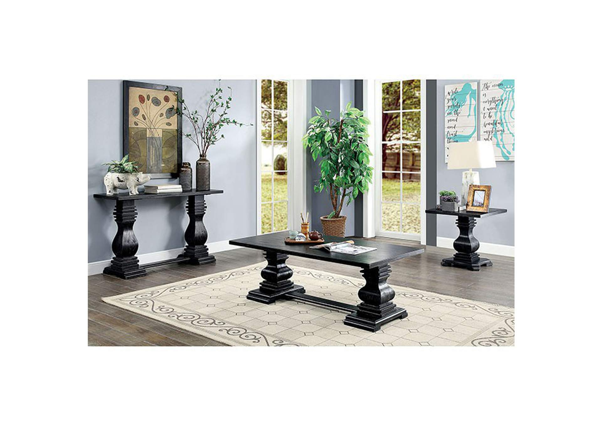 Mirabel Antique Black Coffee Table,Furniture of America