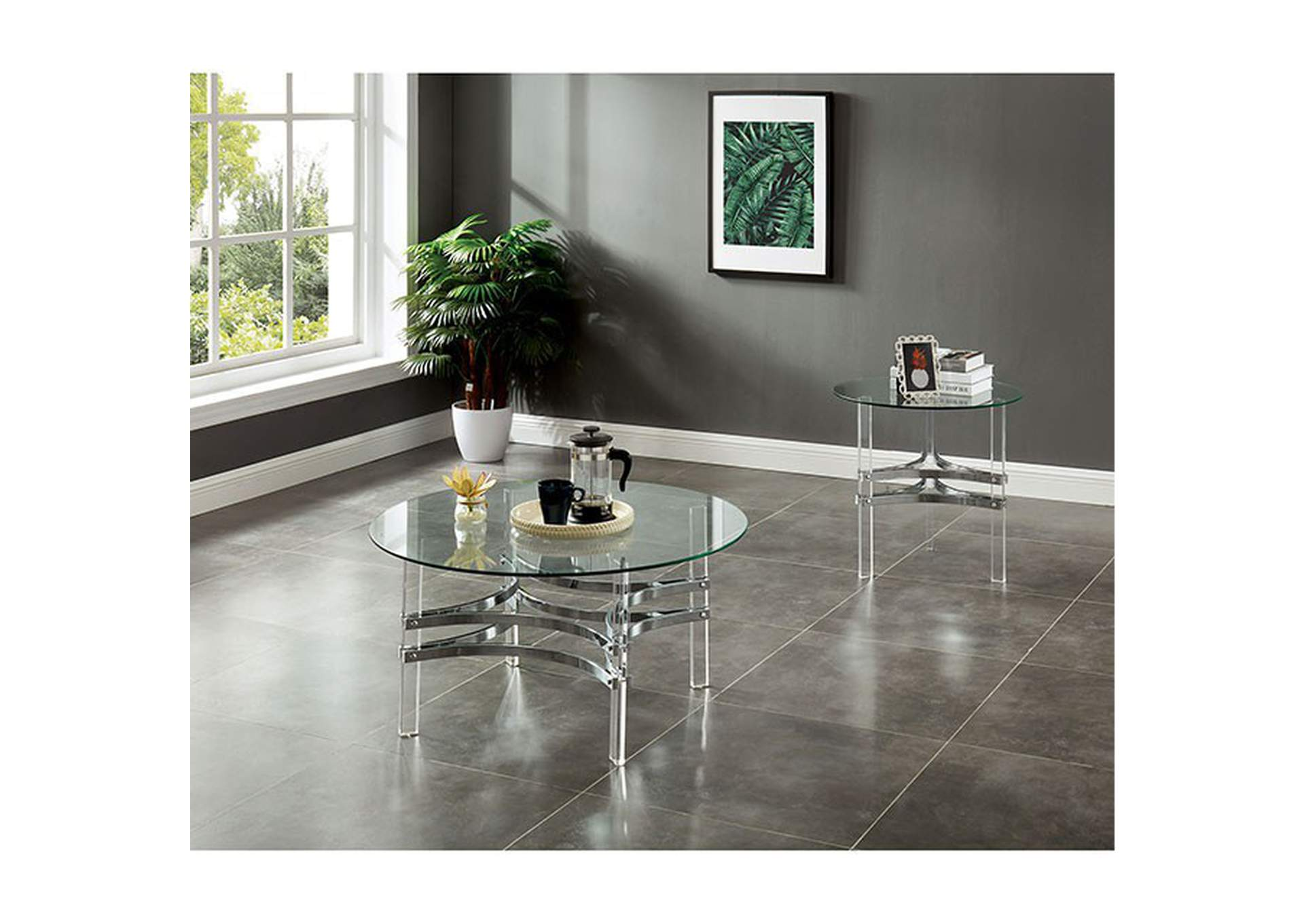 Tirso Glass End Table,Furniture of America