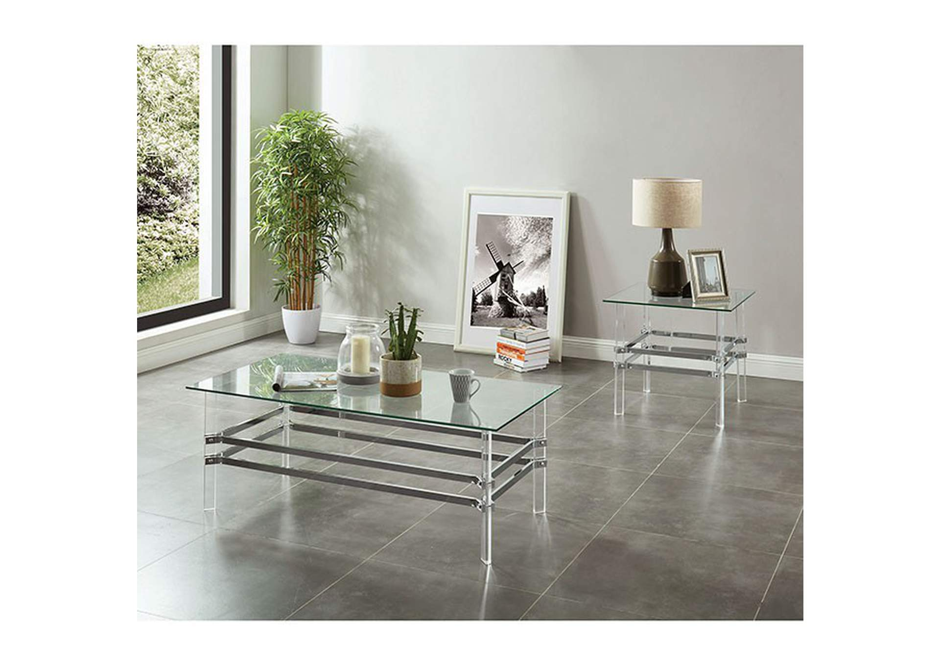 Trofa Chrome End Table,Furniture of America