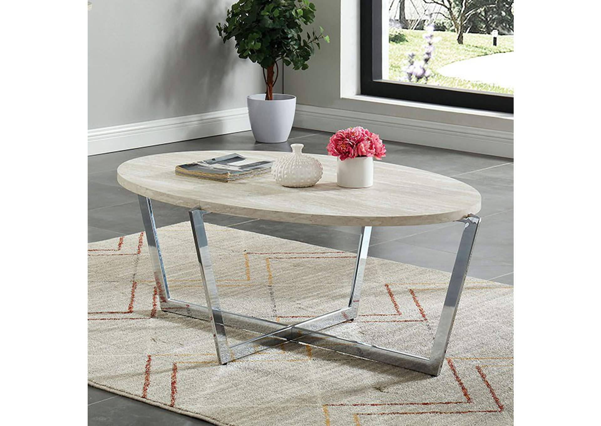 Madisyn Marble Coffee Table,Furniture of America