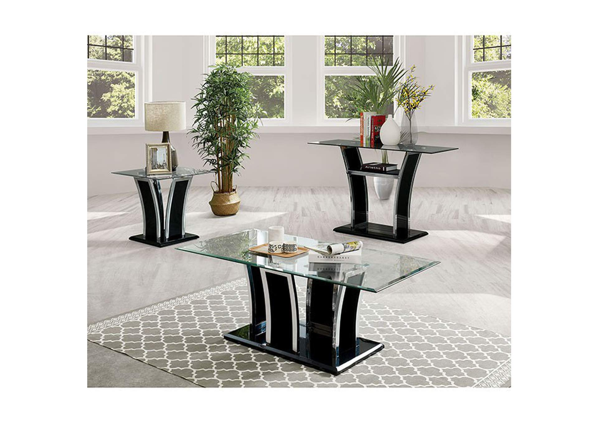 Staten Glossy Black End Table,Furniture of America