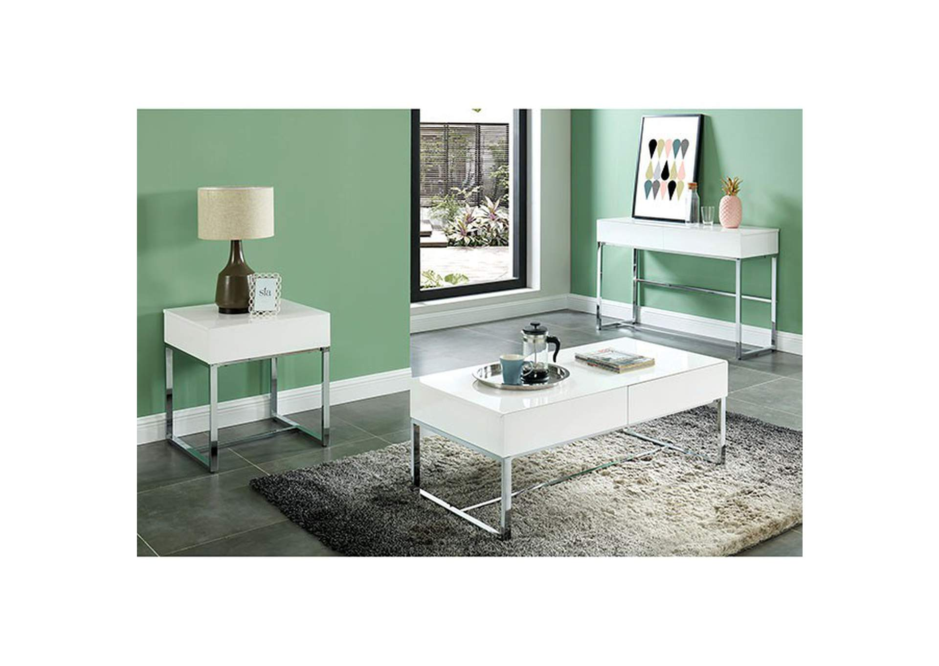Juni White End Table,Furniture of America