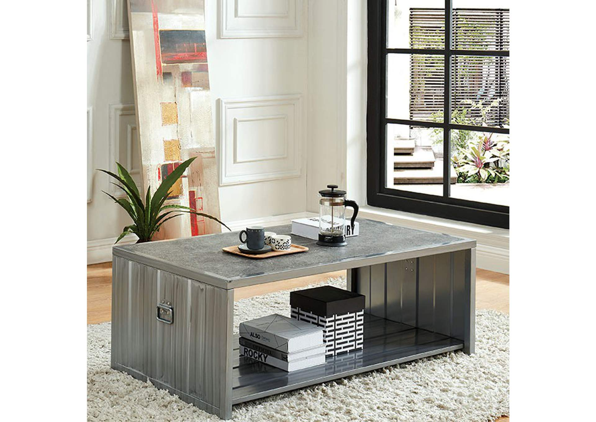 Menan Hand Painted Silver Coffee Table,Furniture of America
