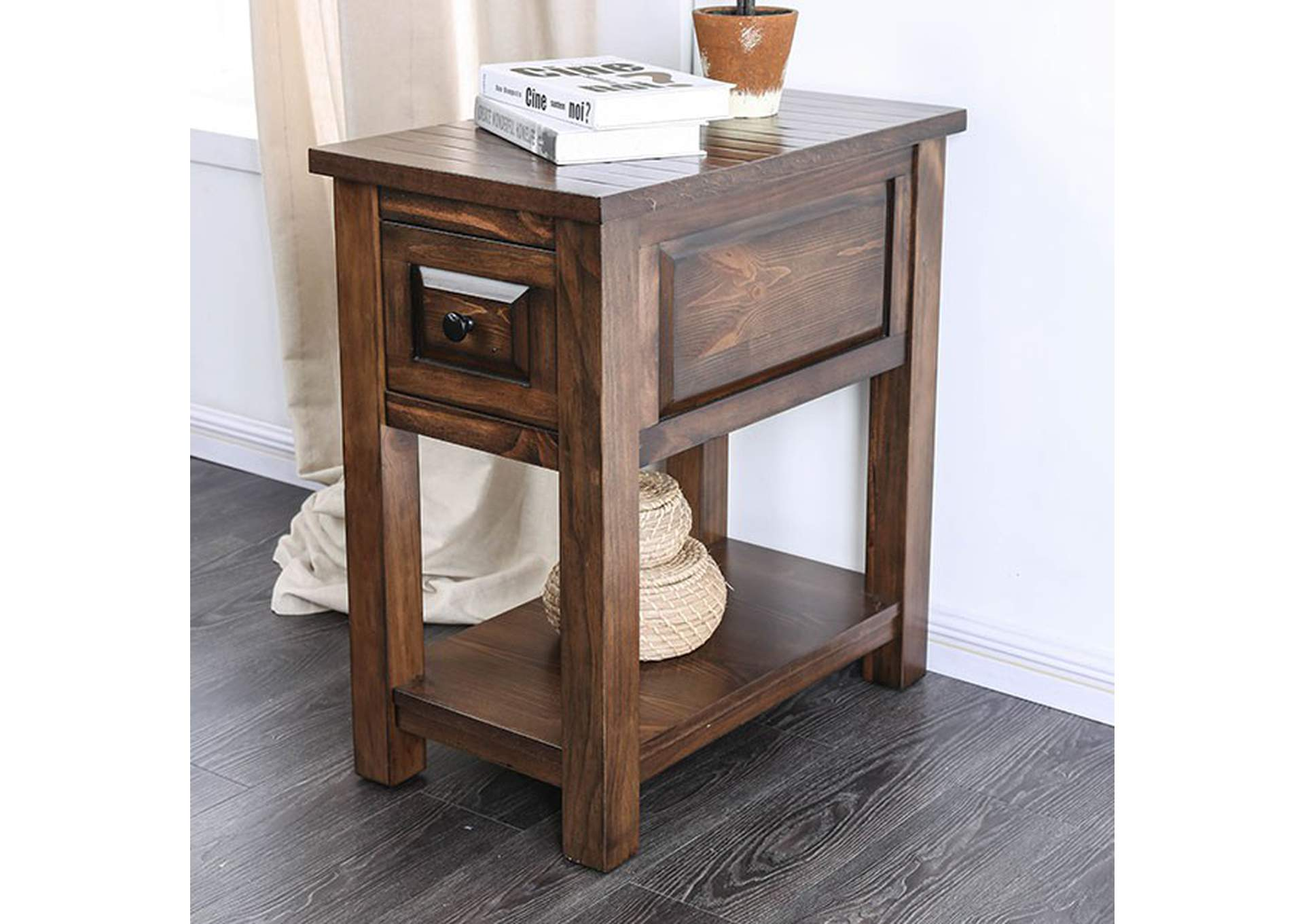 Annabel Walnut Side Table,Furniture of America