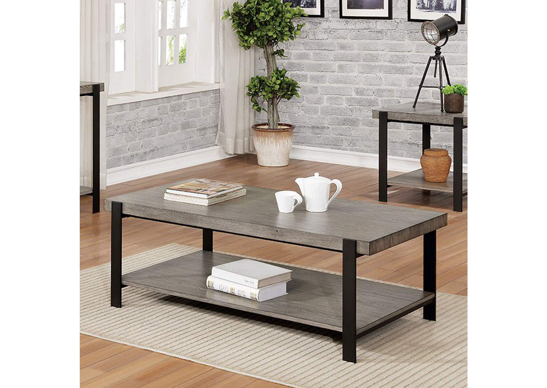 Huckleberry Gray Wash Coffee Table,Furniture of America