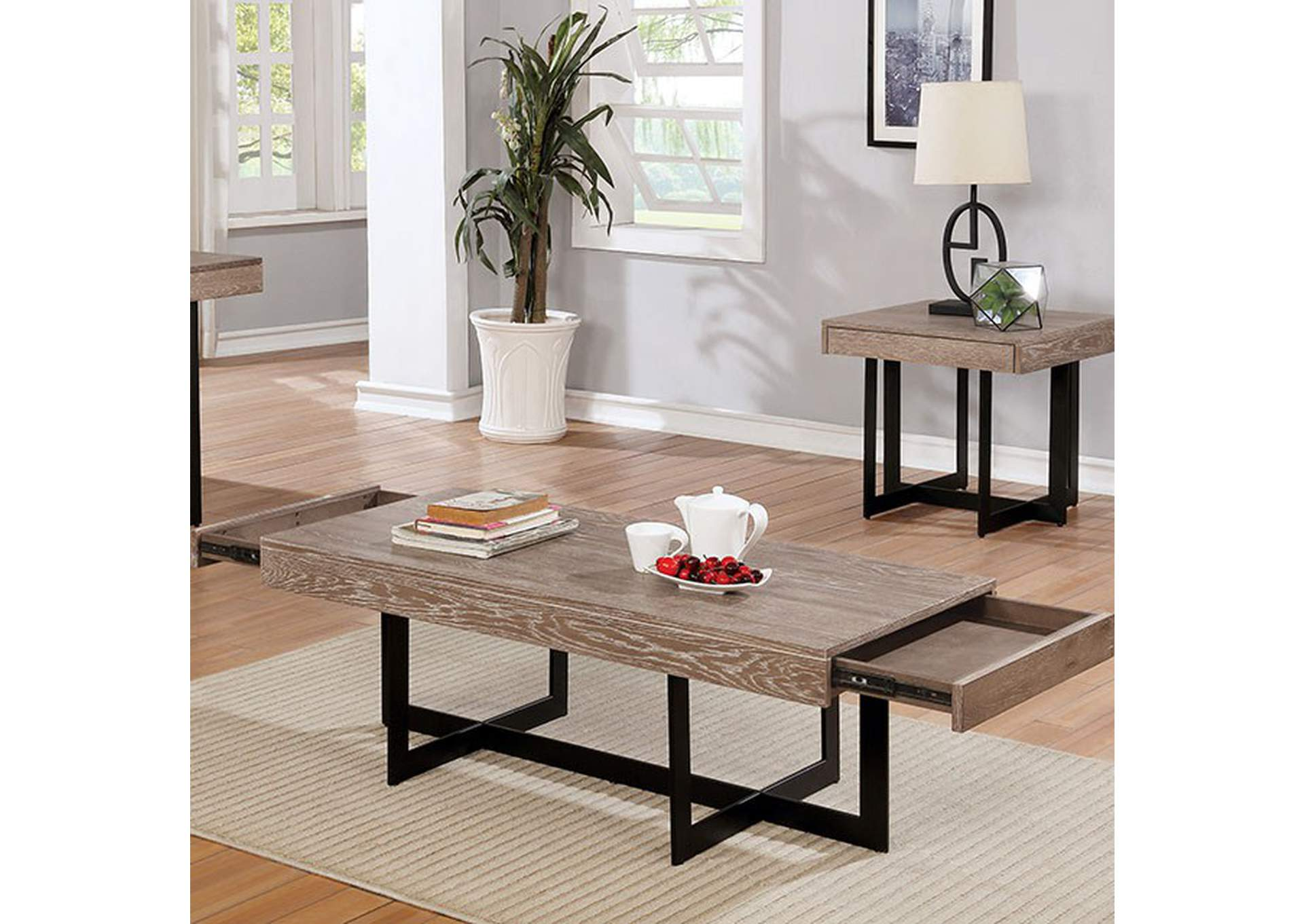 Sawyer Gray Wash Coffee Table,Furniture of America