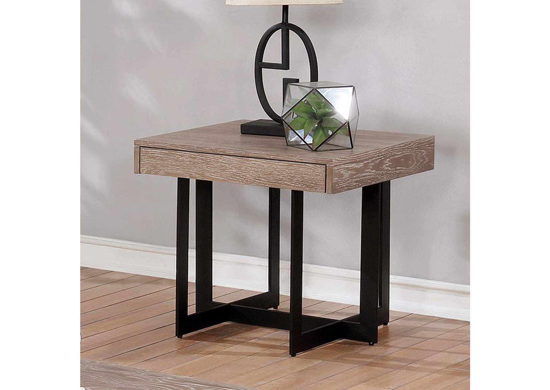 Sawyer Gray Wash End Table,Furniture of America