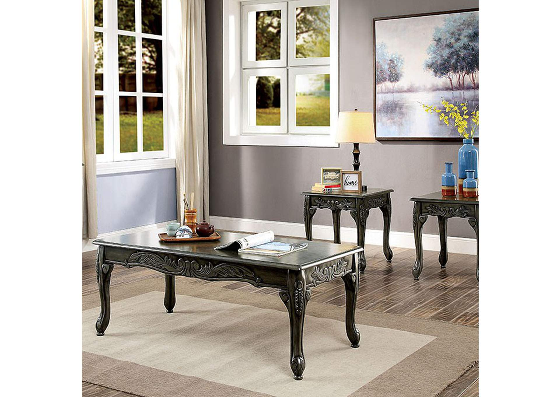 Cheshire Gray 3 Piece Table Set,Furniture of America